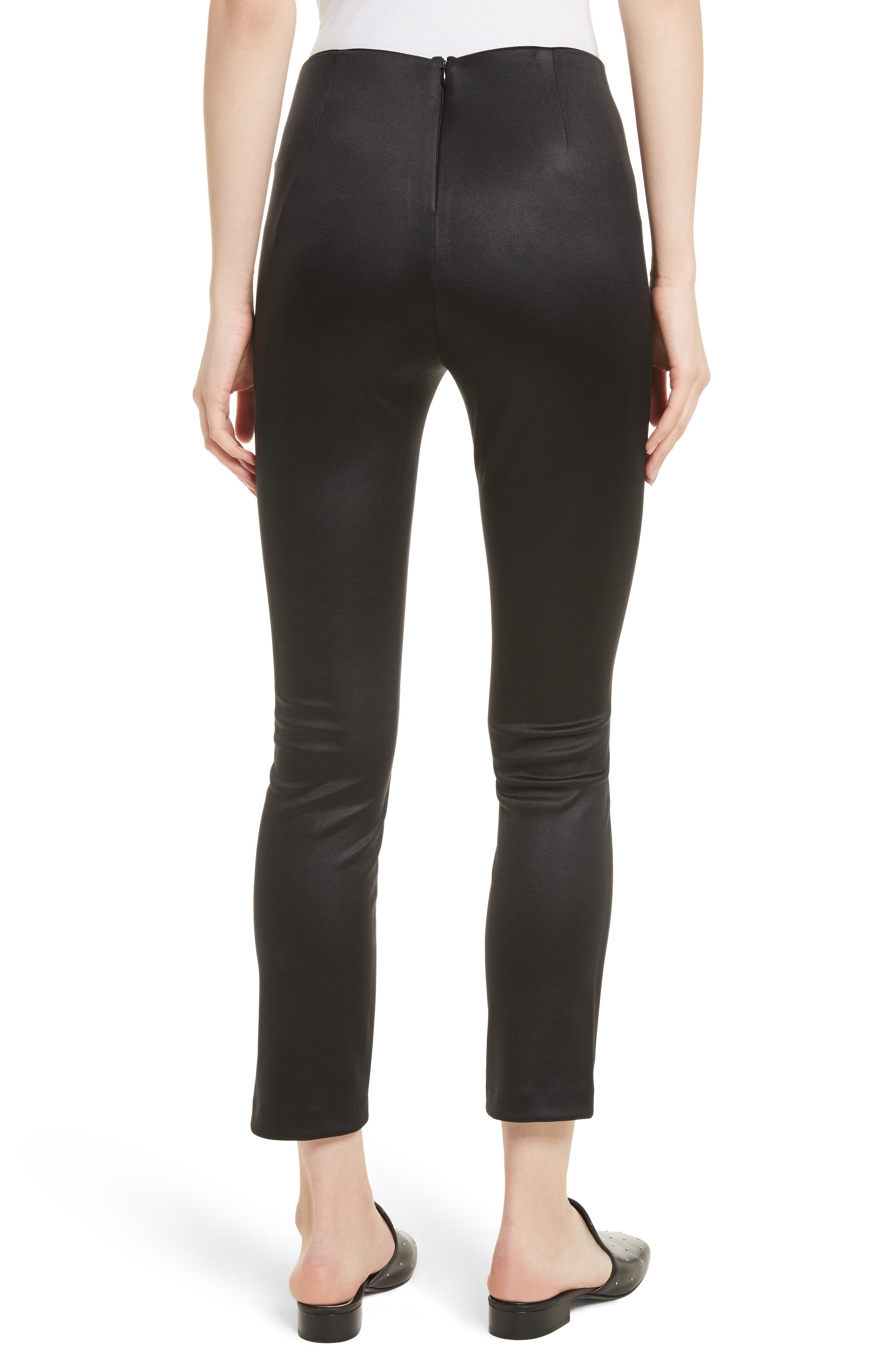 Simone Sateen Pants,                             Alternate thumbnail 2, color,                             Black
