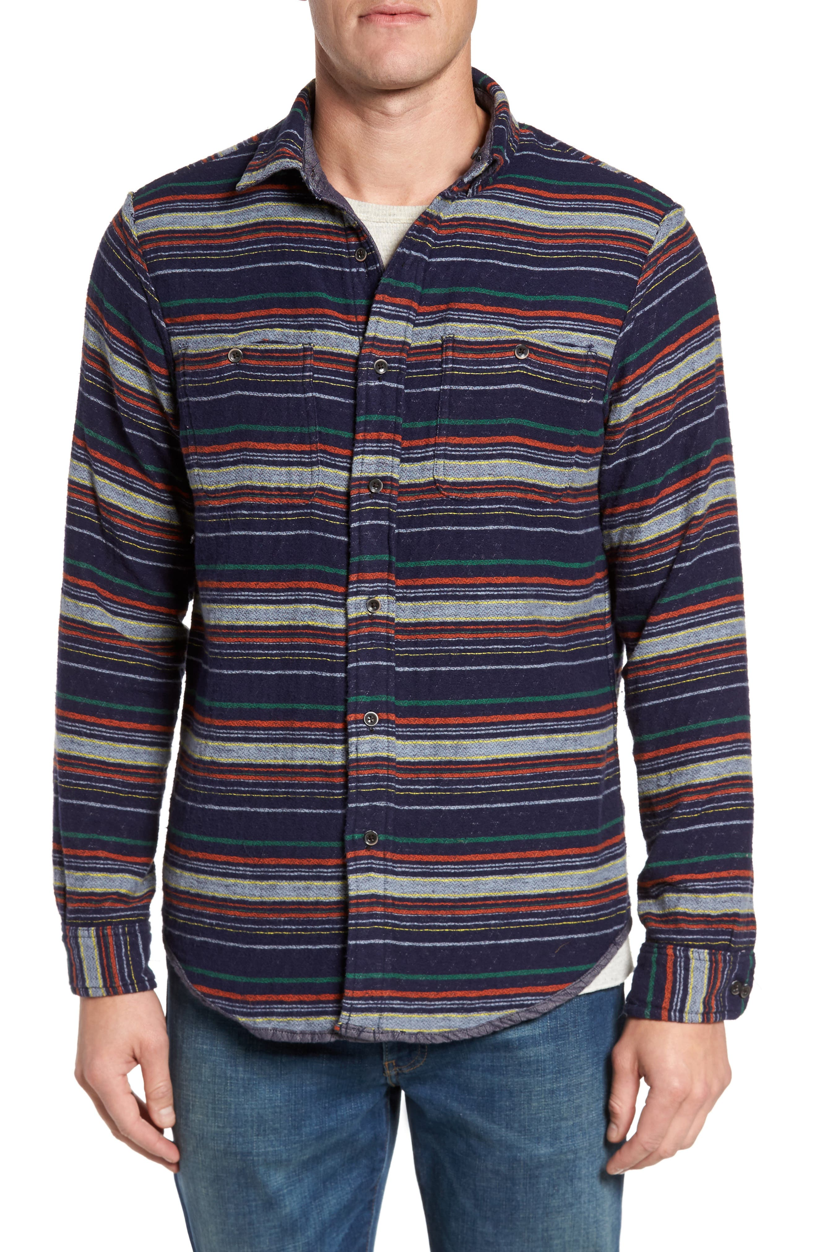 Reversible Double-Face Quilted Shirt Jacket,                             Alternate thumbnail 4, color,                             Multi Colored Stripe