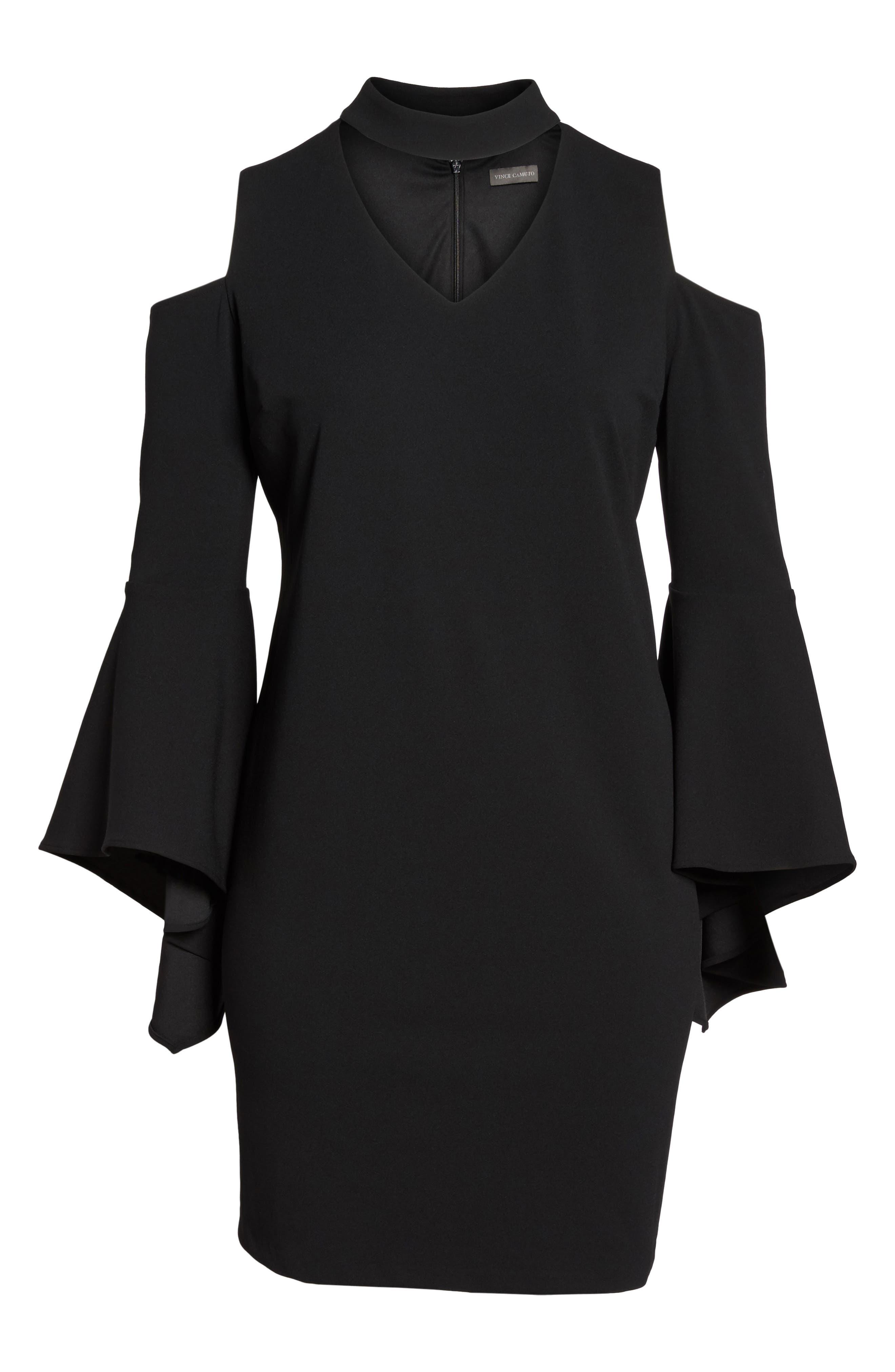 Cold Shoulder Bell Sleeve Dress,                             Alternate thumbnail 6, color,                             Rich Black