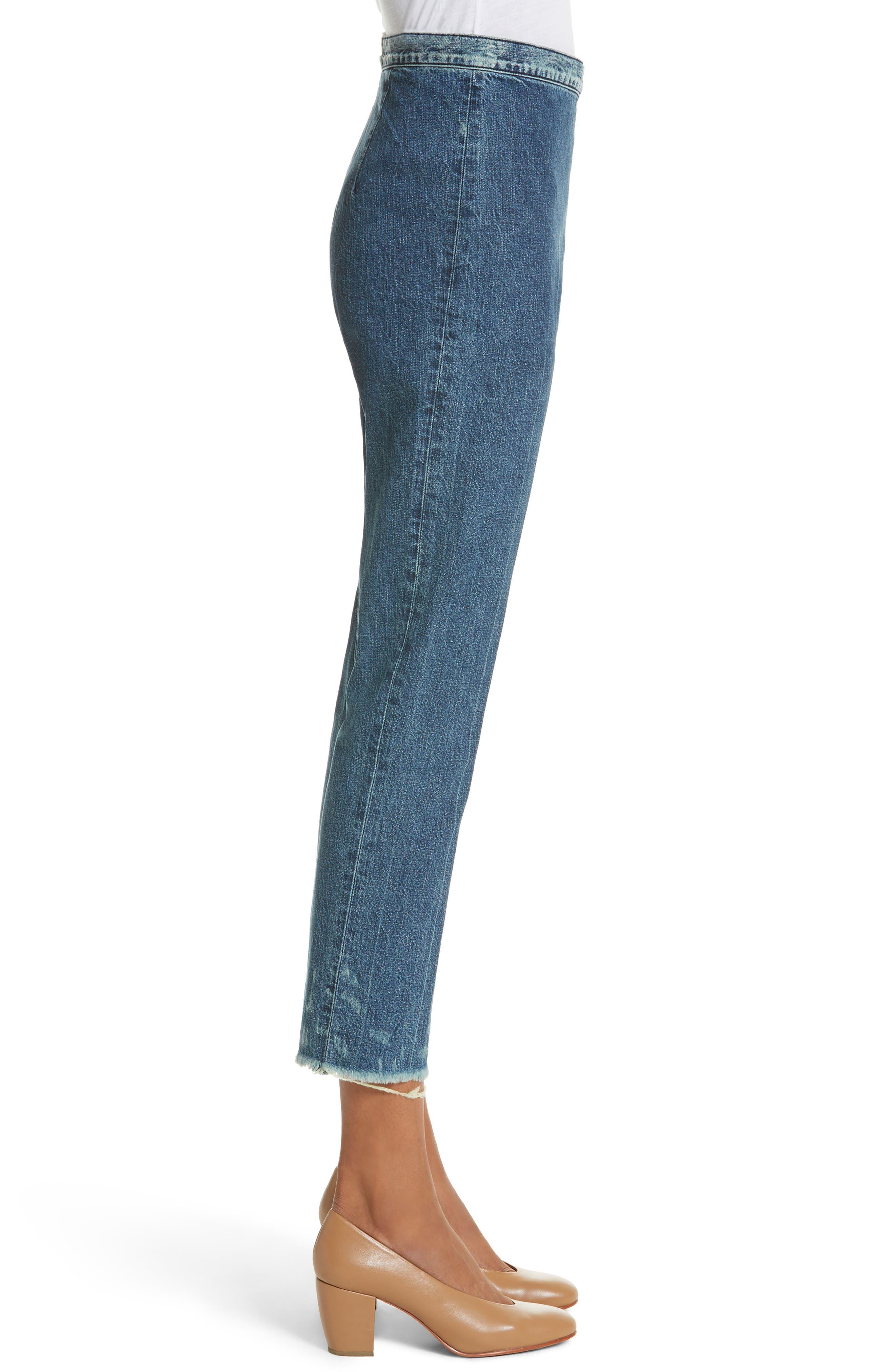 Fletcher Slim Straight Cropped Jeans,                             Alternate thumbnail 3, color,                             Classic Indigo
