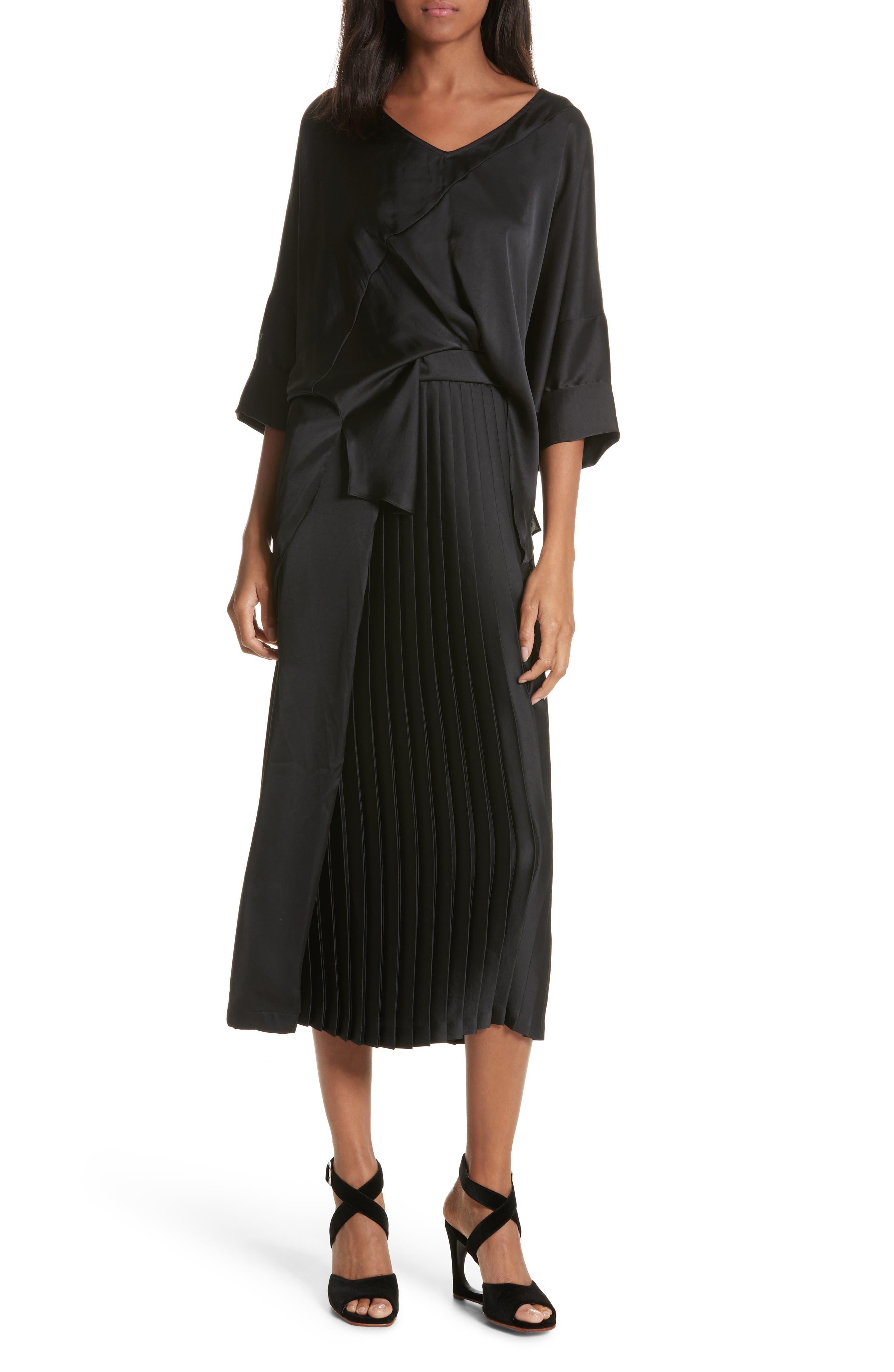 Mure Satin Midi Dress,                         Main,                         color, Black