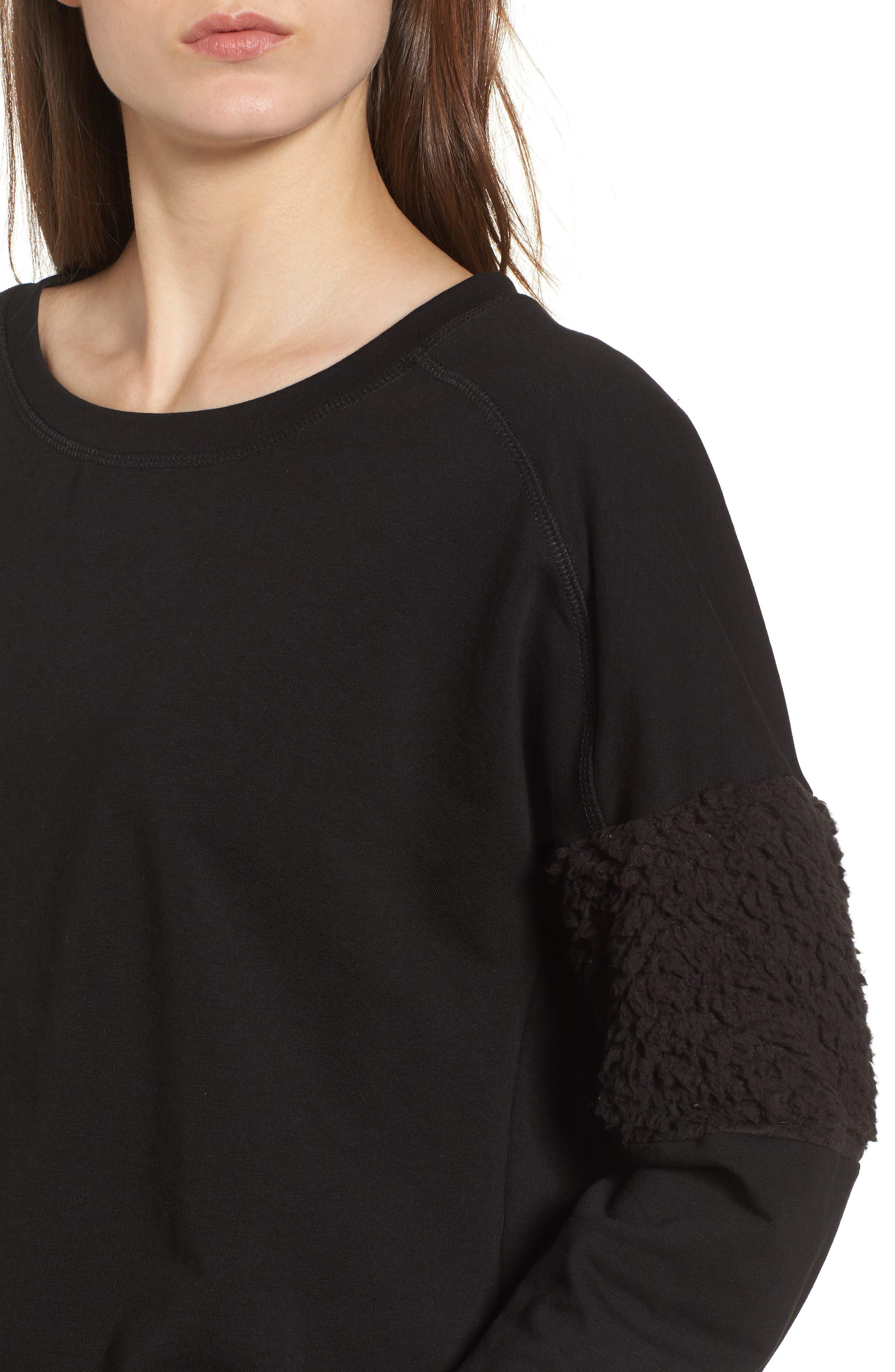 Fleece Panel Sweatshirt,                             Alternate thumbnail 4, color,                             Black