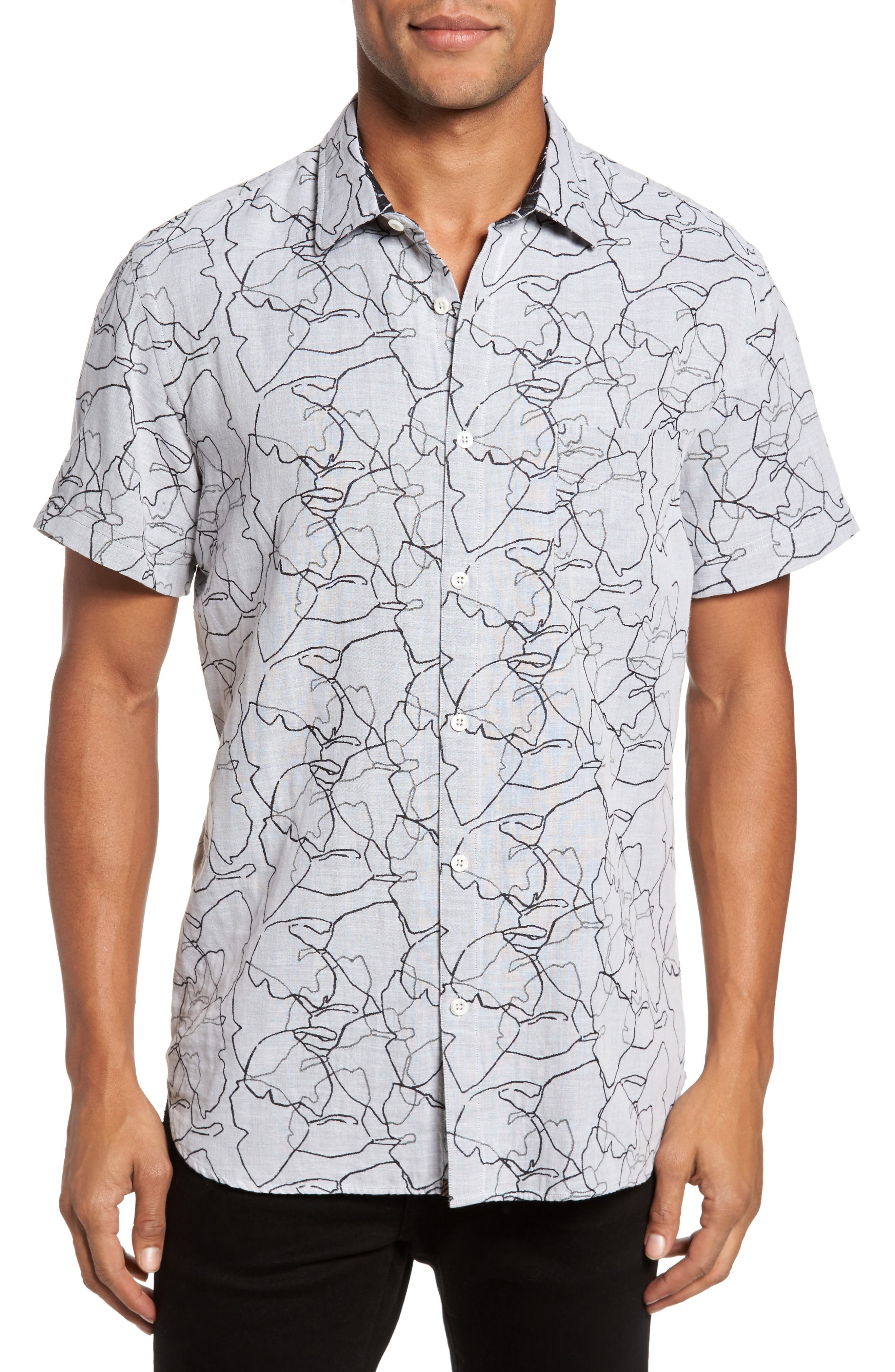John Print Sport Shirt,                         Main,                         color, White