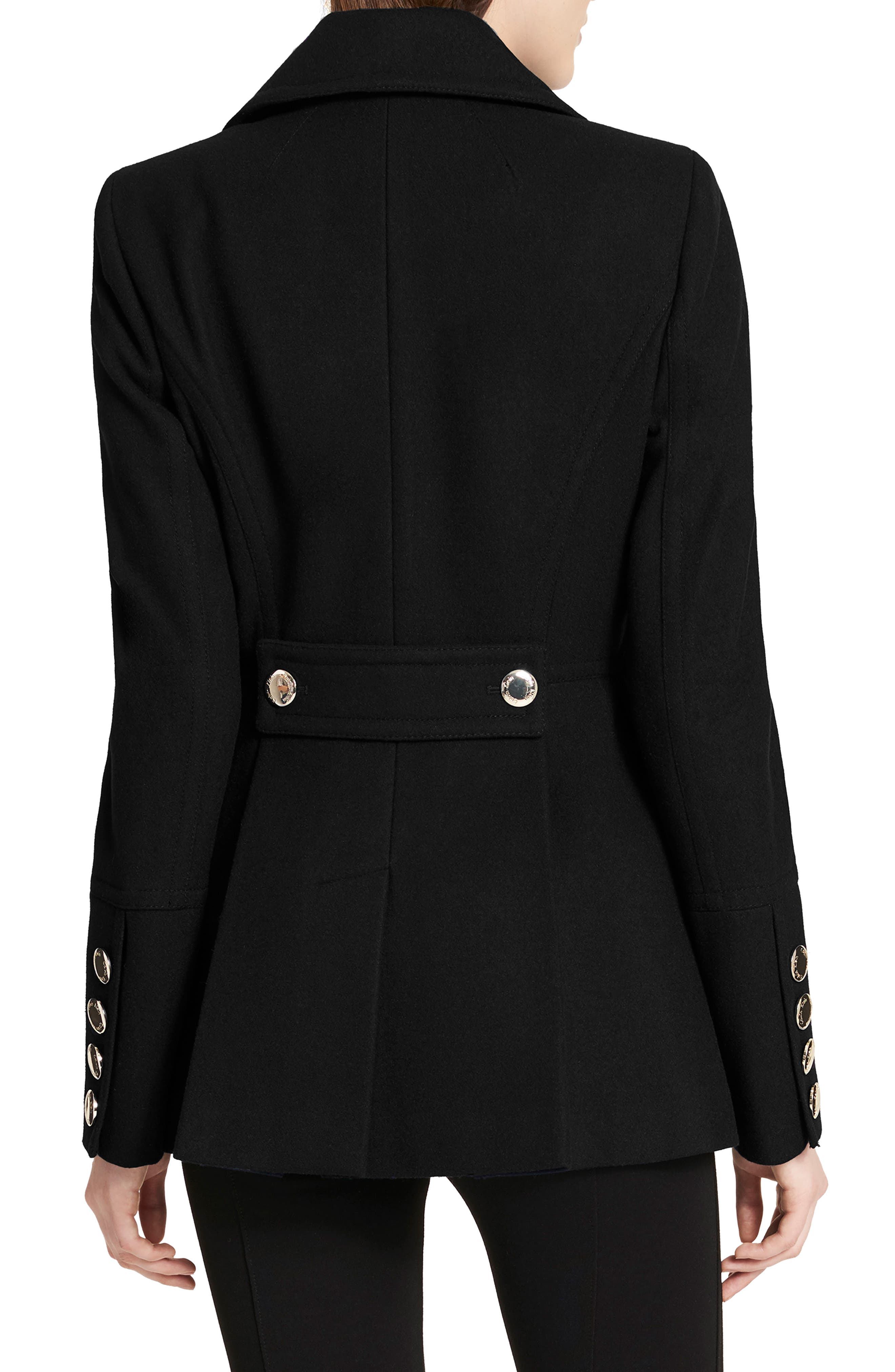 Double Breasted Wool Blend Peacoat,                             Alternate thumbnail 2, color,                             Black