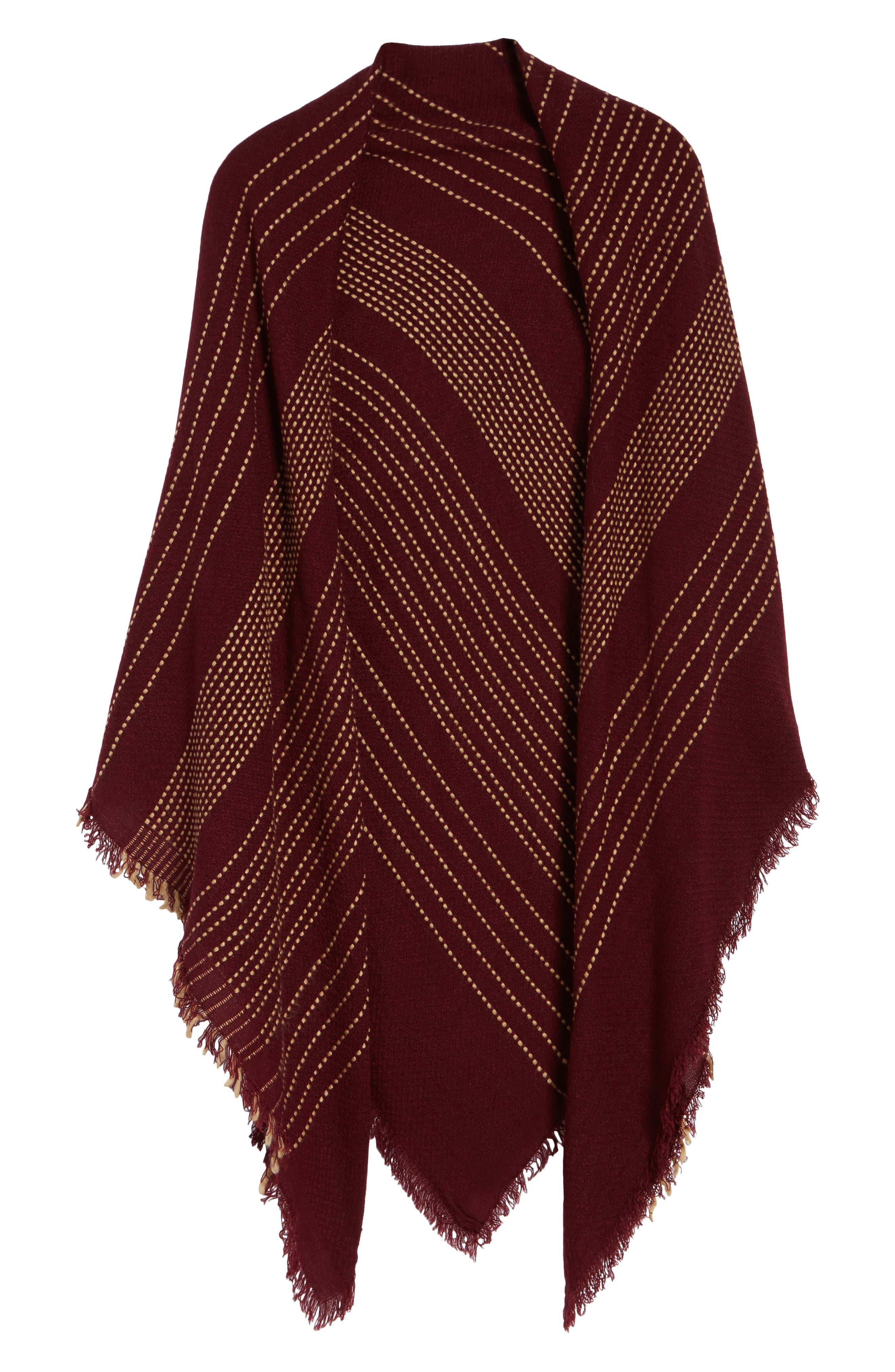 Textured Stripe Blanket Scarf,                             Alternate thumbnail 6, color,                             Wine