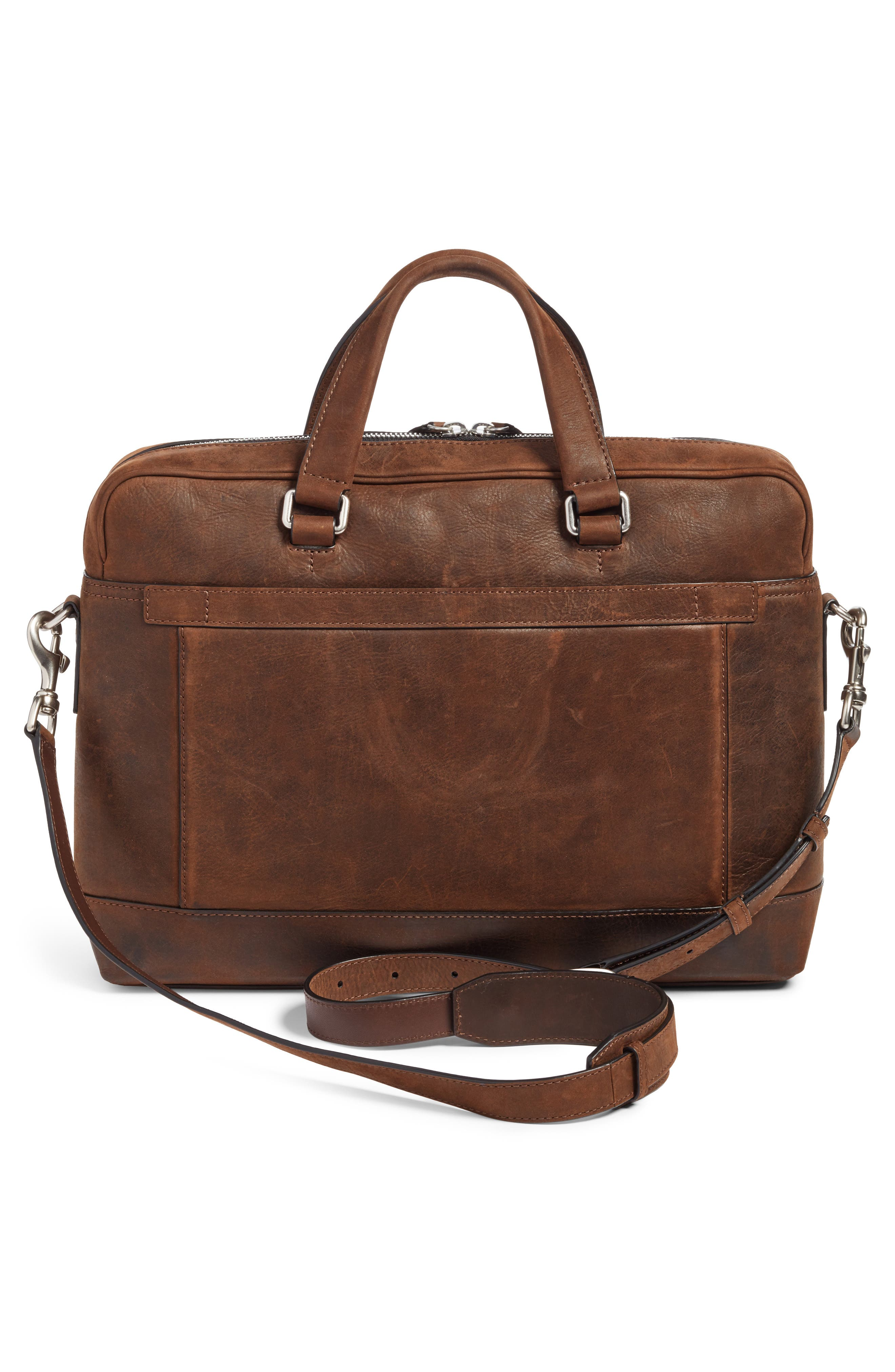 Oliver Leather Briefcase,                             Alternate thumbnail 3, color,                             Dark Brown