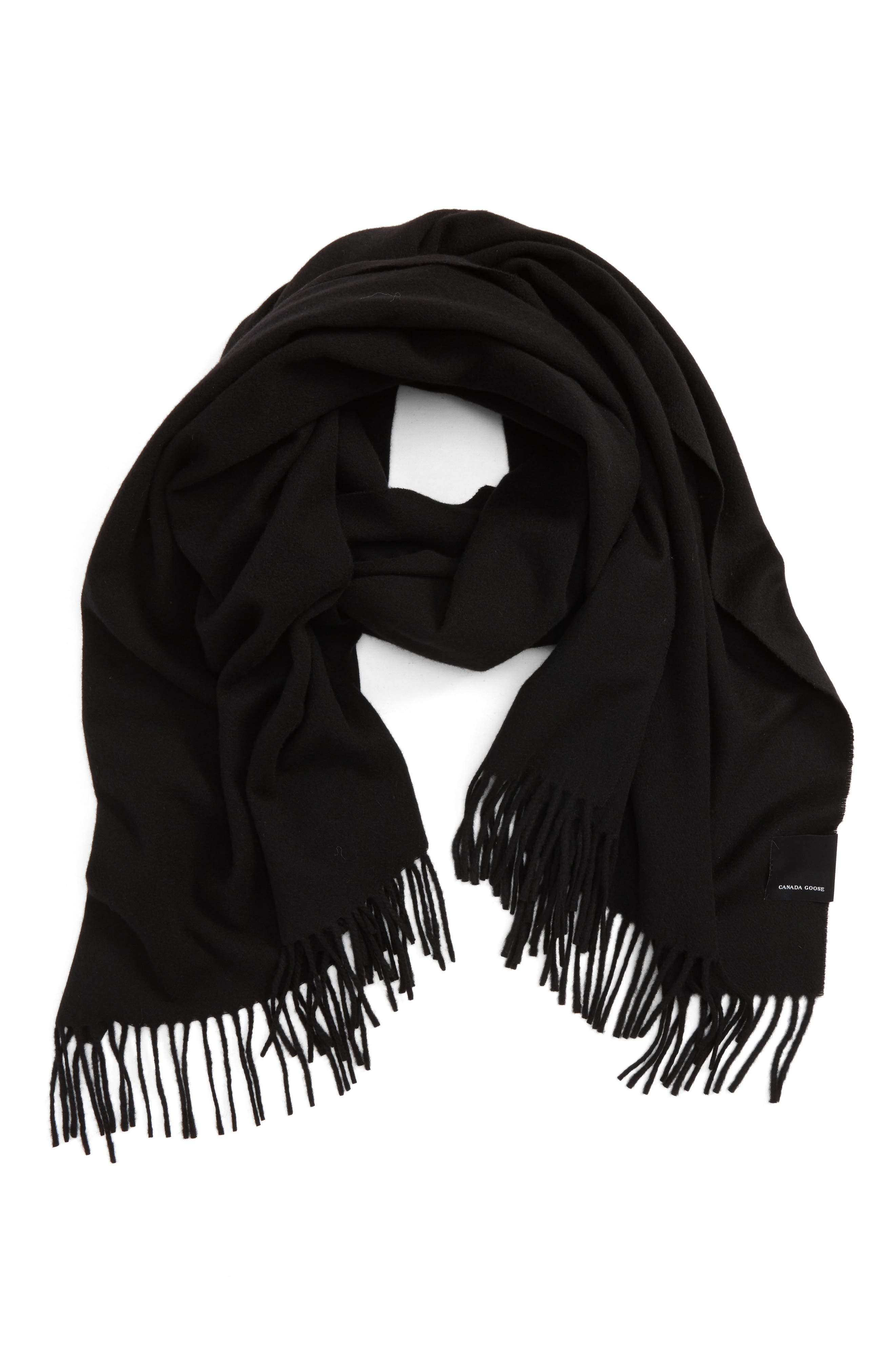 Woven Wool Scarf,                         Main,                         color, Black