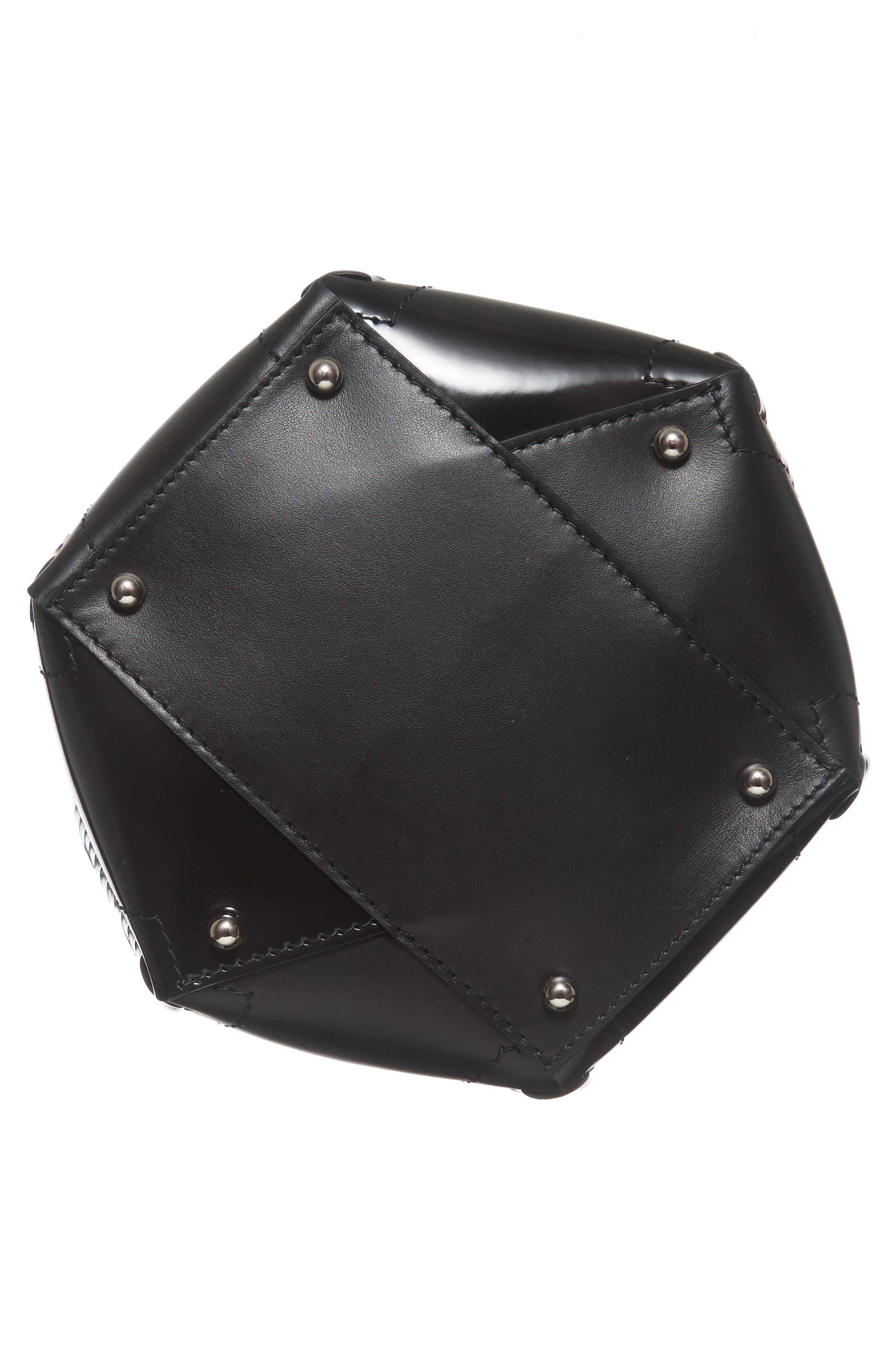 Medium Hex Metallic Whipstitch Leather Bucket Bag,                             Alternate thumbnail 4, color,                             Black Mix
