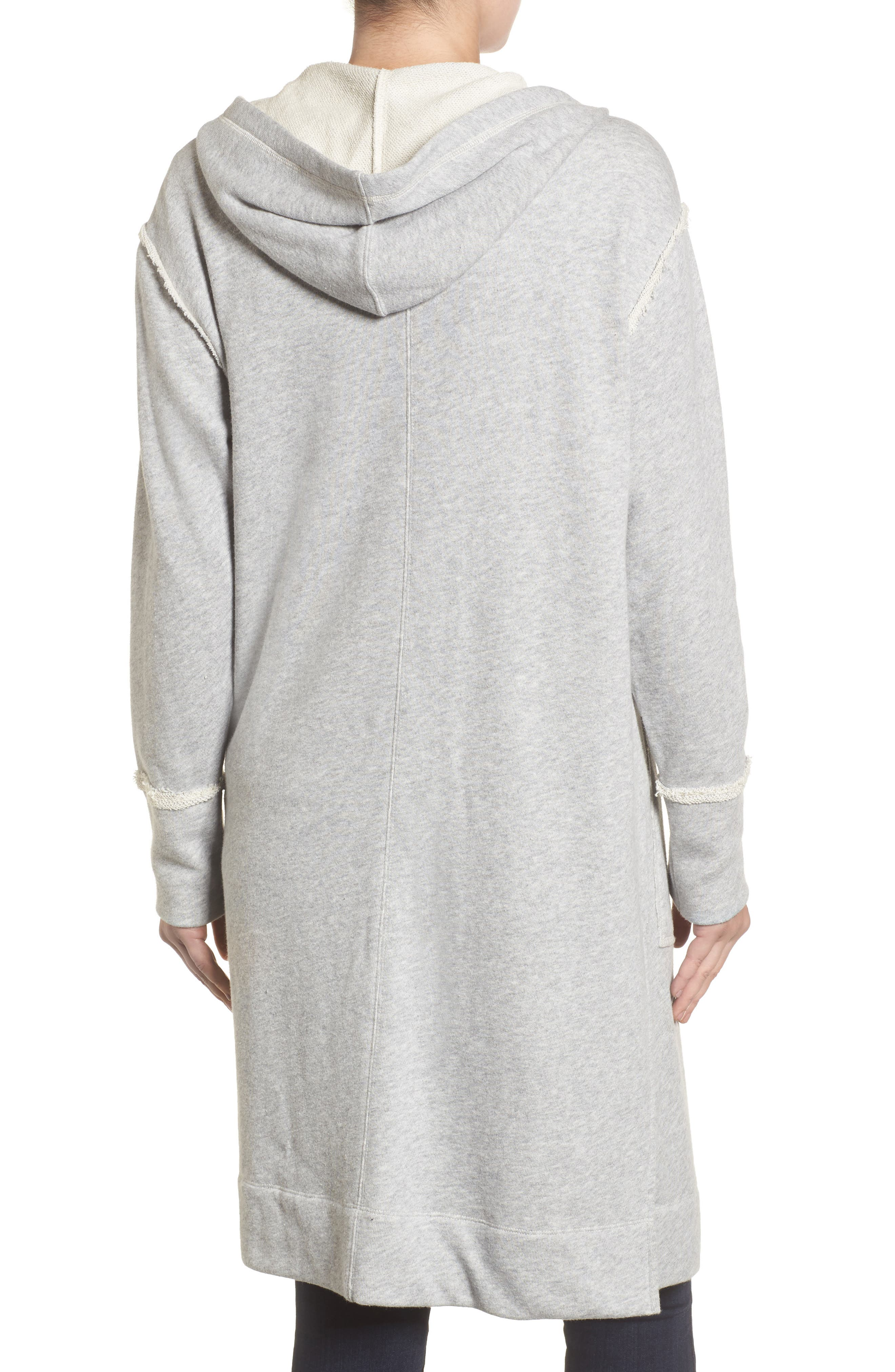 Hooded Long Cardigan,                             Alternate thumbnail 2, color,                             Grey Heather