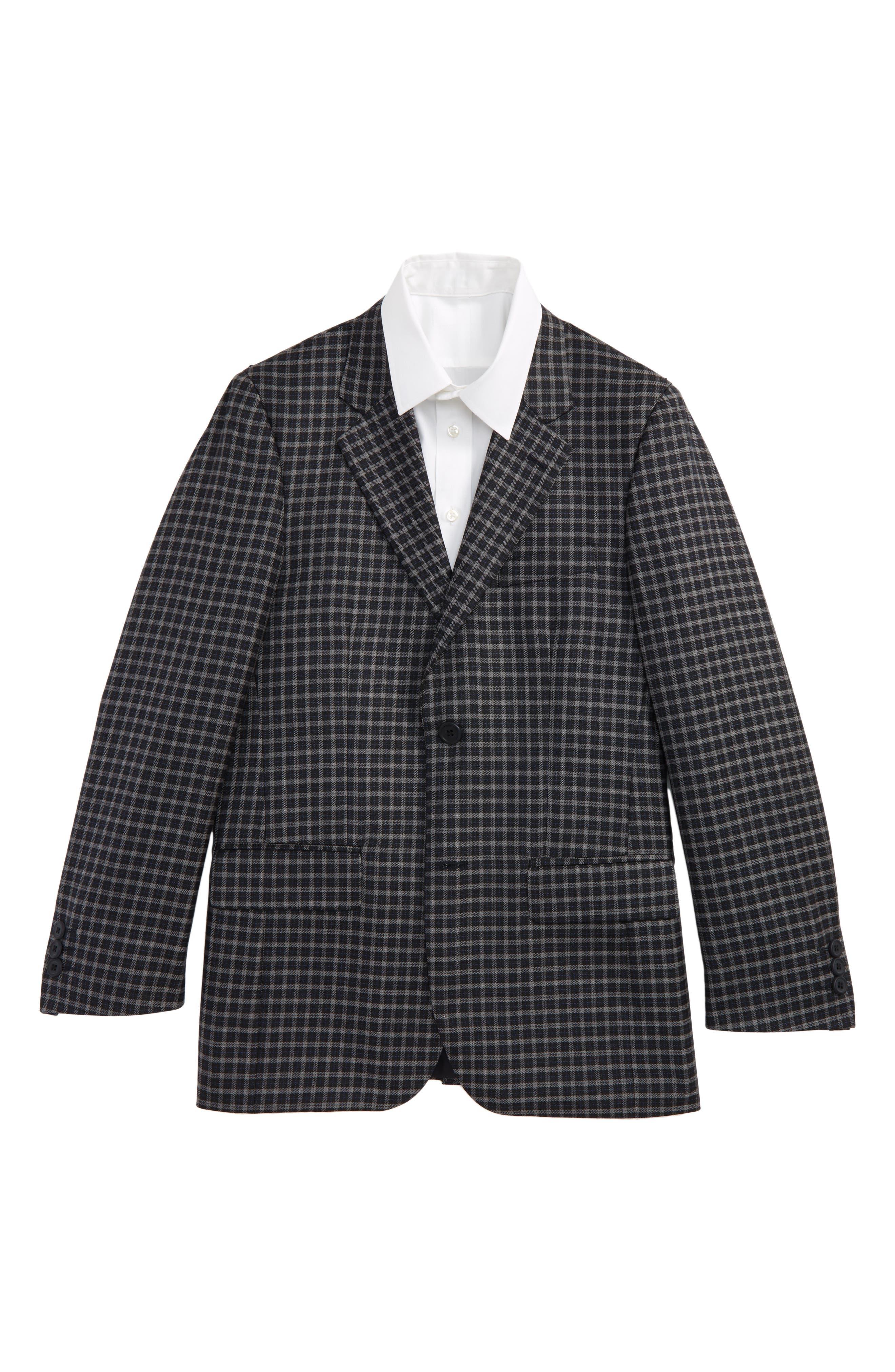 Plaid Wool Sport Coat,                         Main,                         color, Navy/ Grey