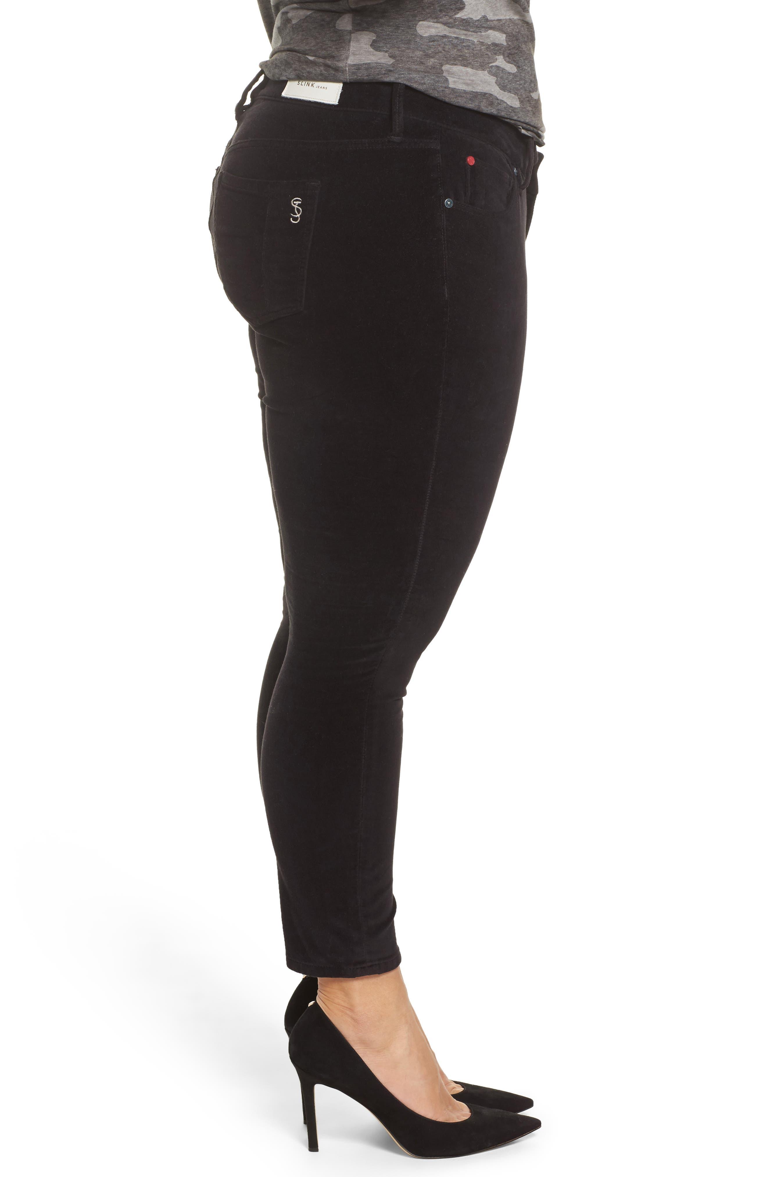 Alternate Image 3  - SLINK Jeans Velvet Skinny Ankle Jeans (Plus Size)