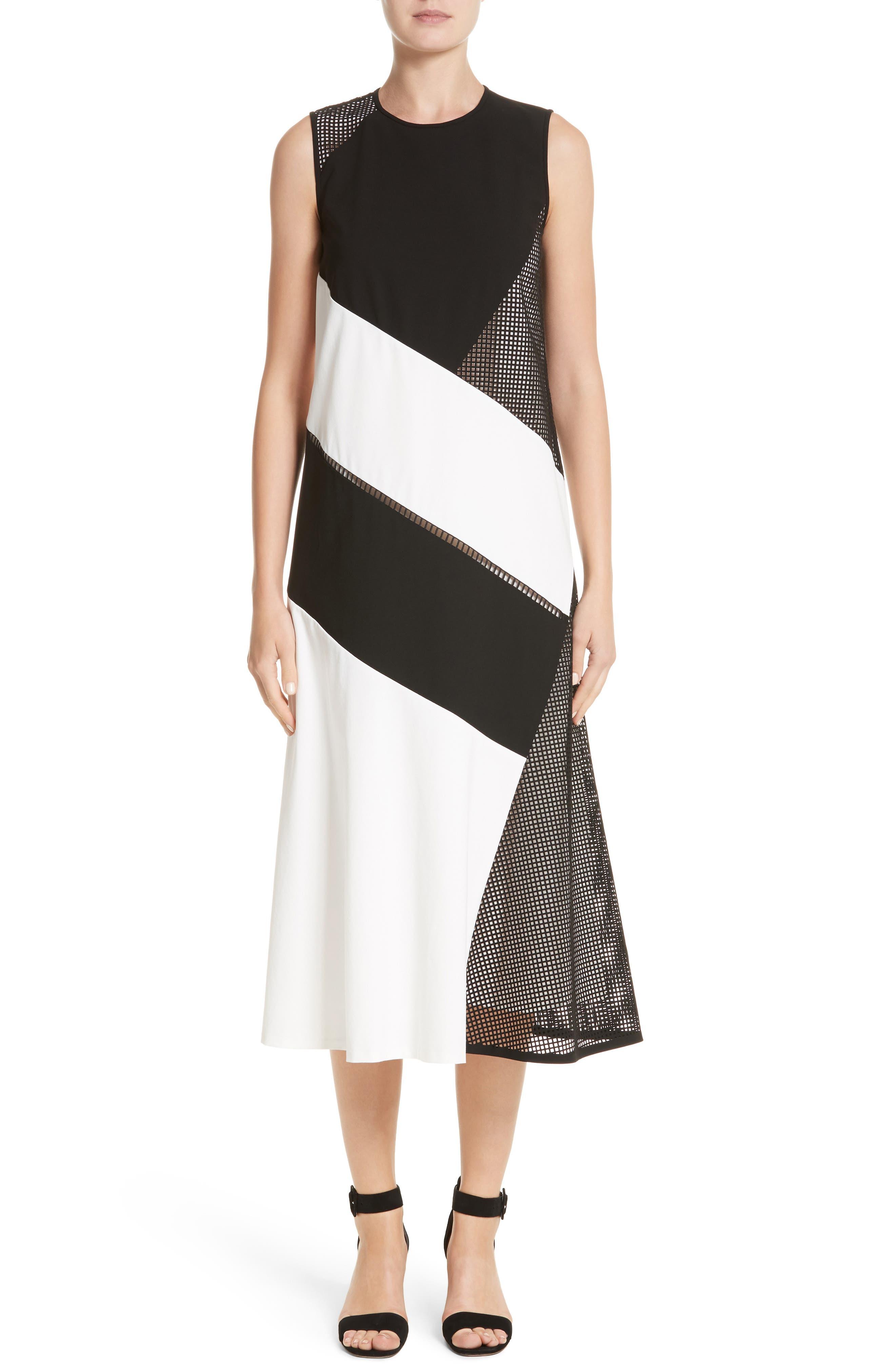 Nuri Laser Cut Midi Dress,                             Main thumbnail 1, color,                             Black/Cloud