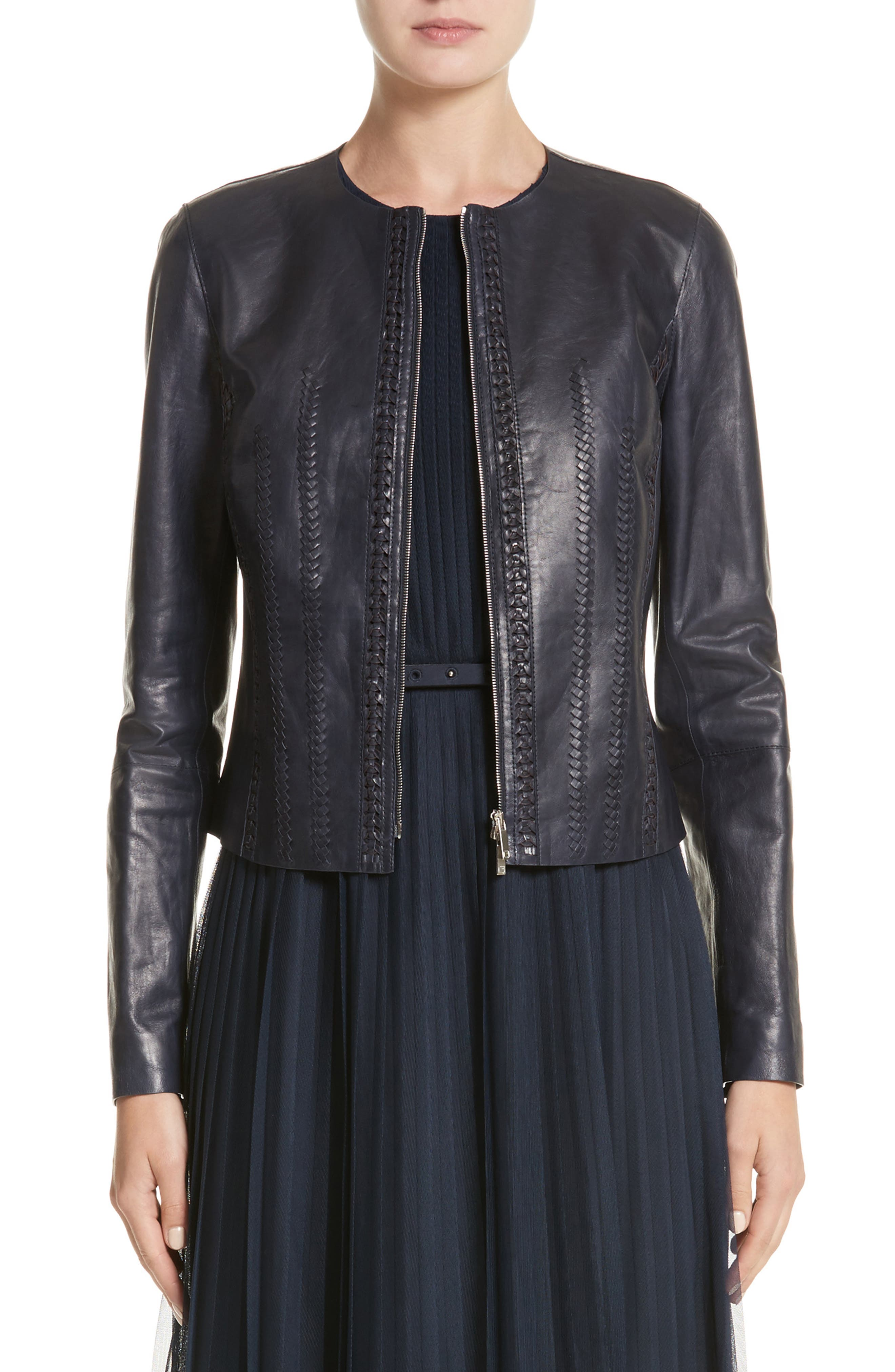 Clyde Lambskin Leather Jacket,                         Main,                         color, Ink