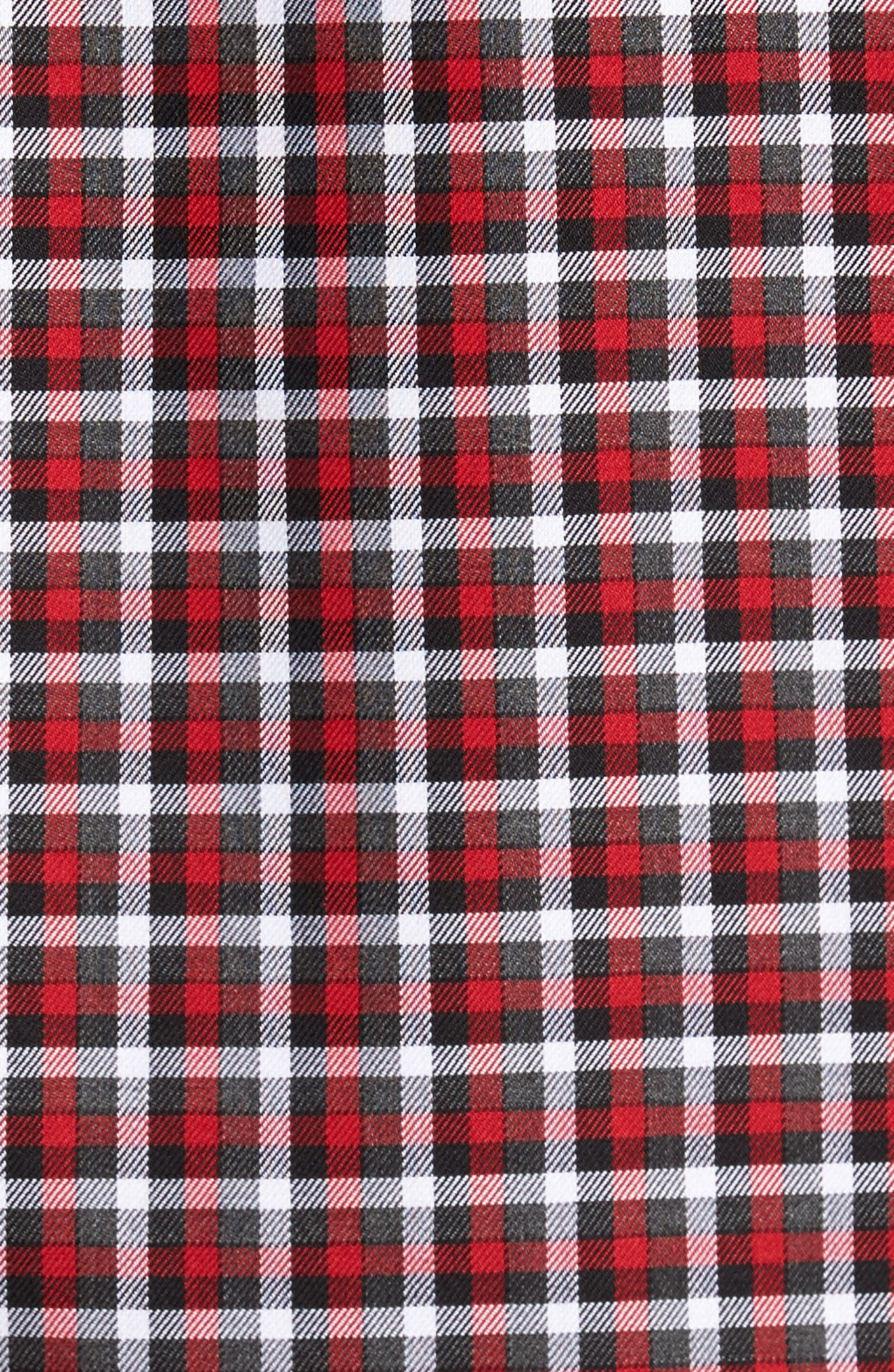 Smartcare<sup>™</sup> Regular Fit Plaid Sport Shirt,                             Alternate thumbnail 5, color,                             Red Grey Heather Check