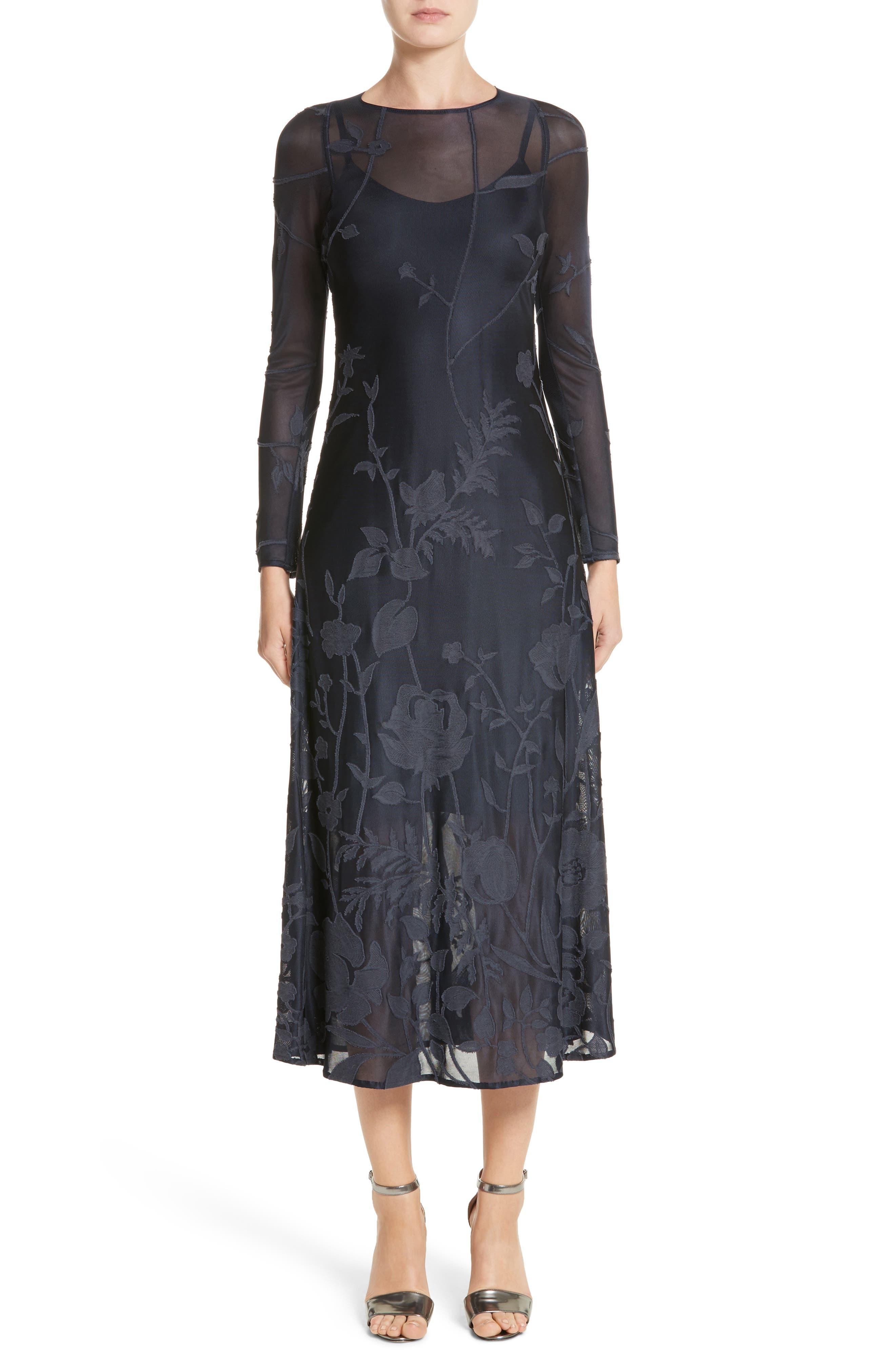 Lafayette 148 New York Ivonna Sheer Fil Coupé Midi Dress