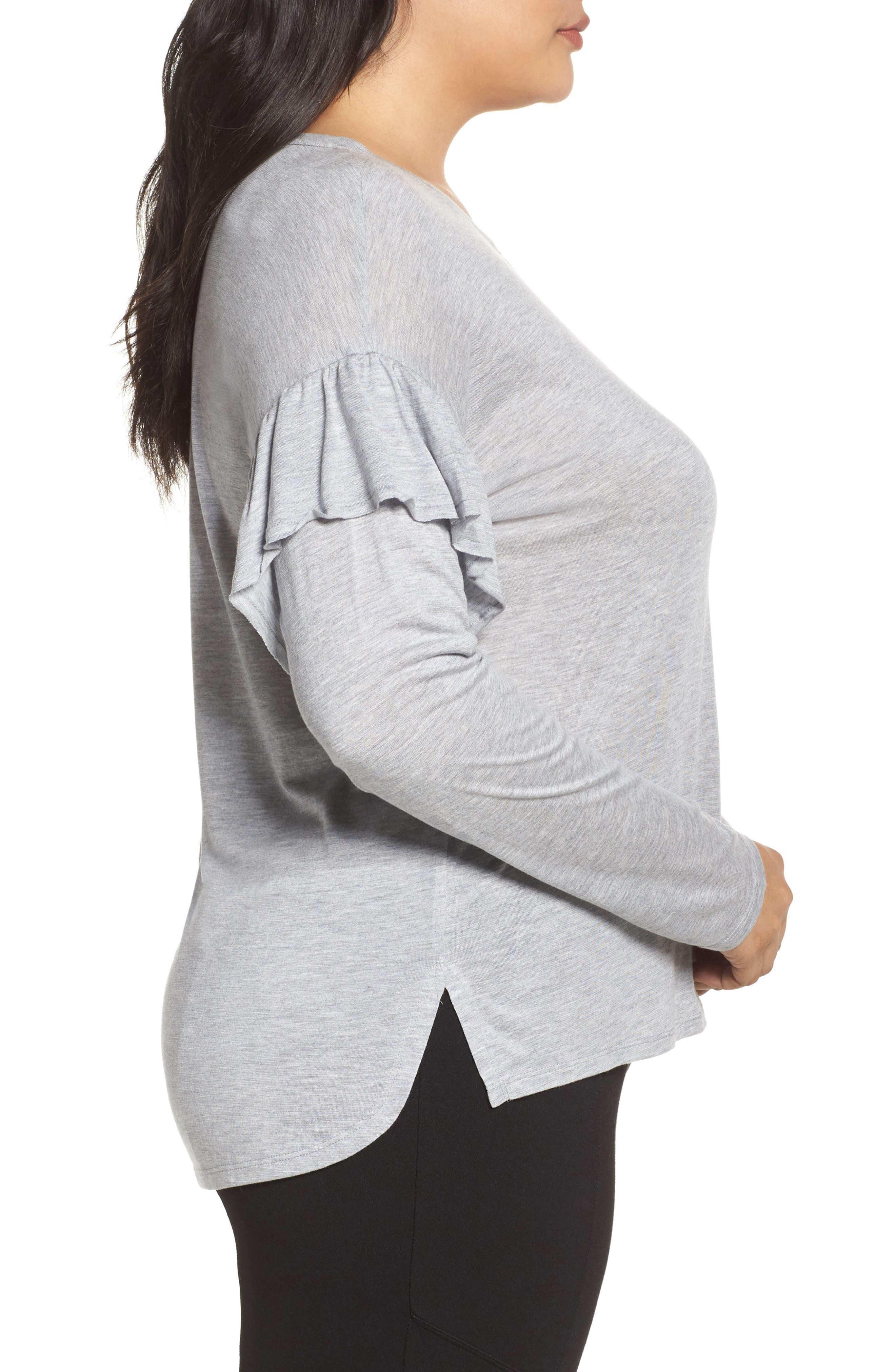 Long Sleeve Ruffle Shoulder Top,                             Alternate thumbnail 3, color,                             Light Heather Grey
