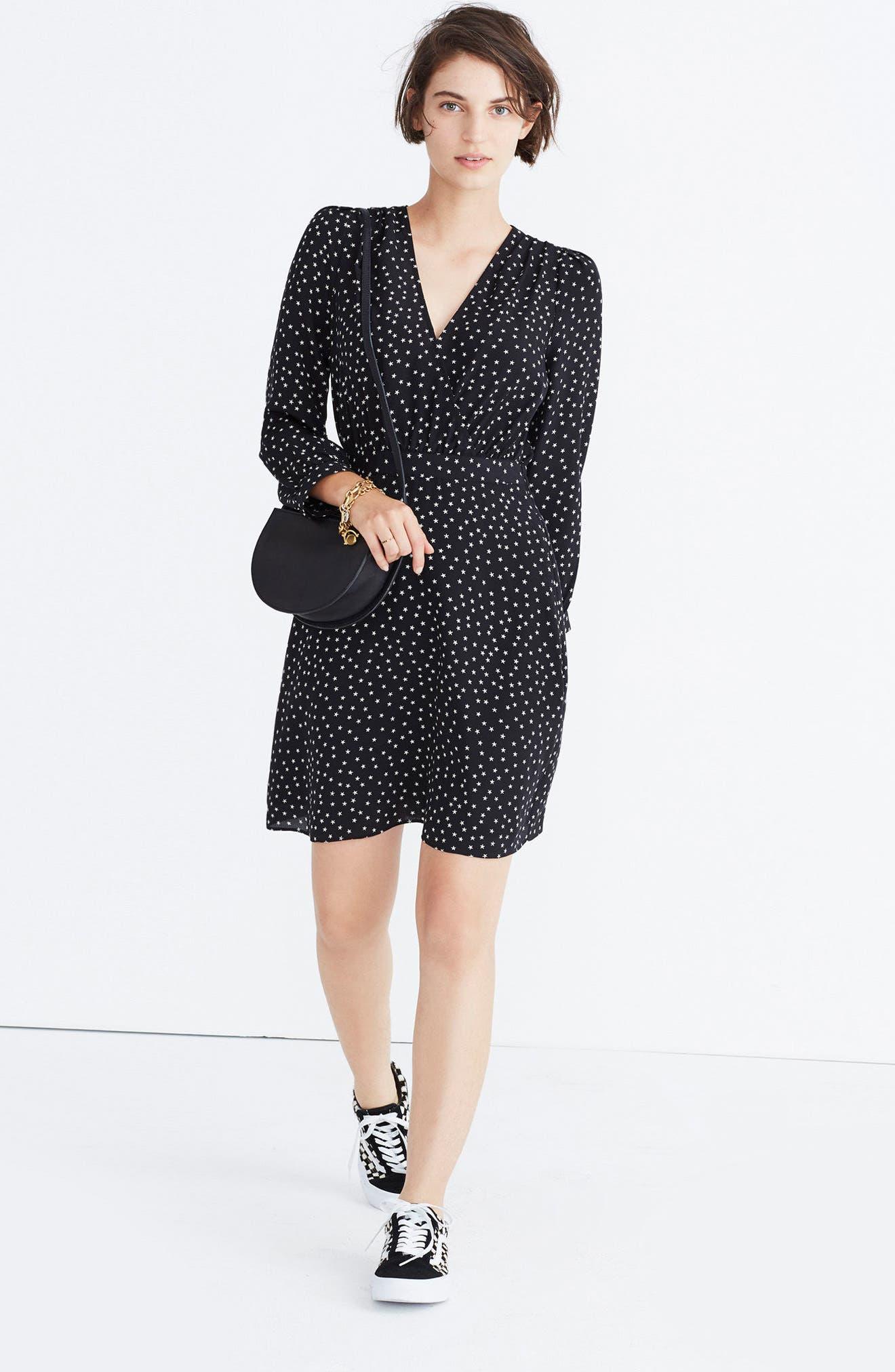 Star Print Silk A-Line Dress,                         Main,                         color, True Black