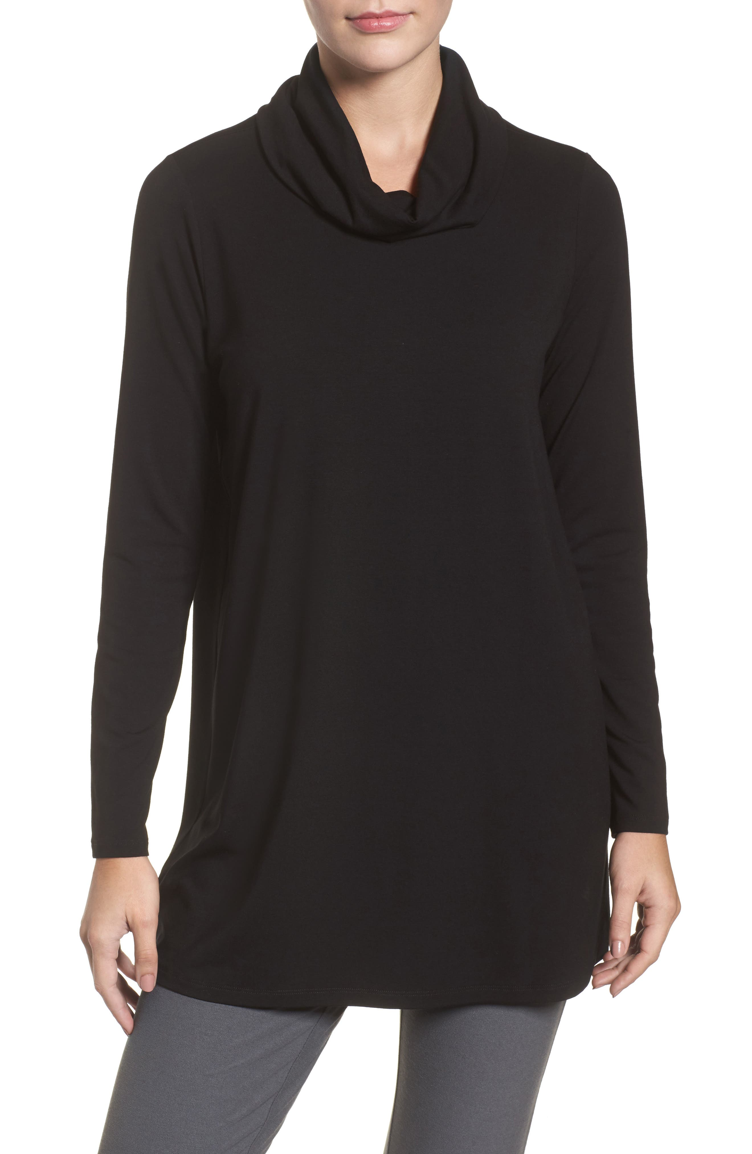 Eileen Fisher Drape Neck Jersey Top (Regular & Petite)