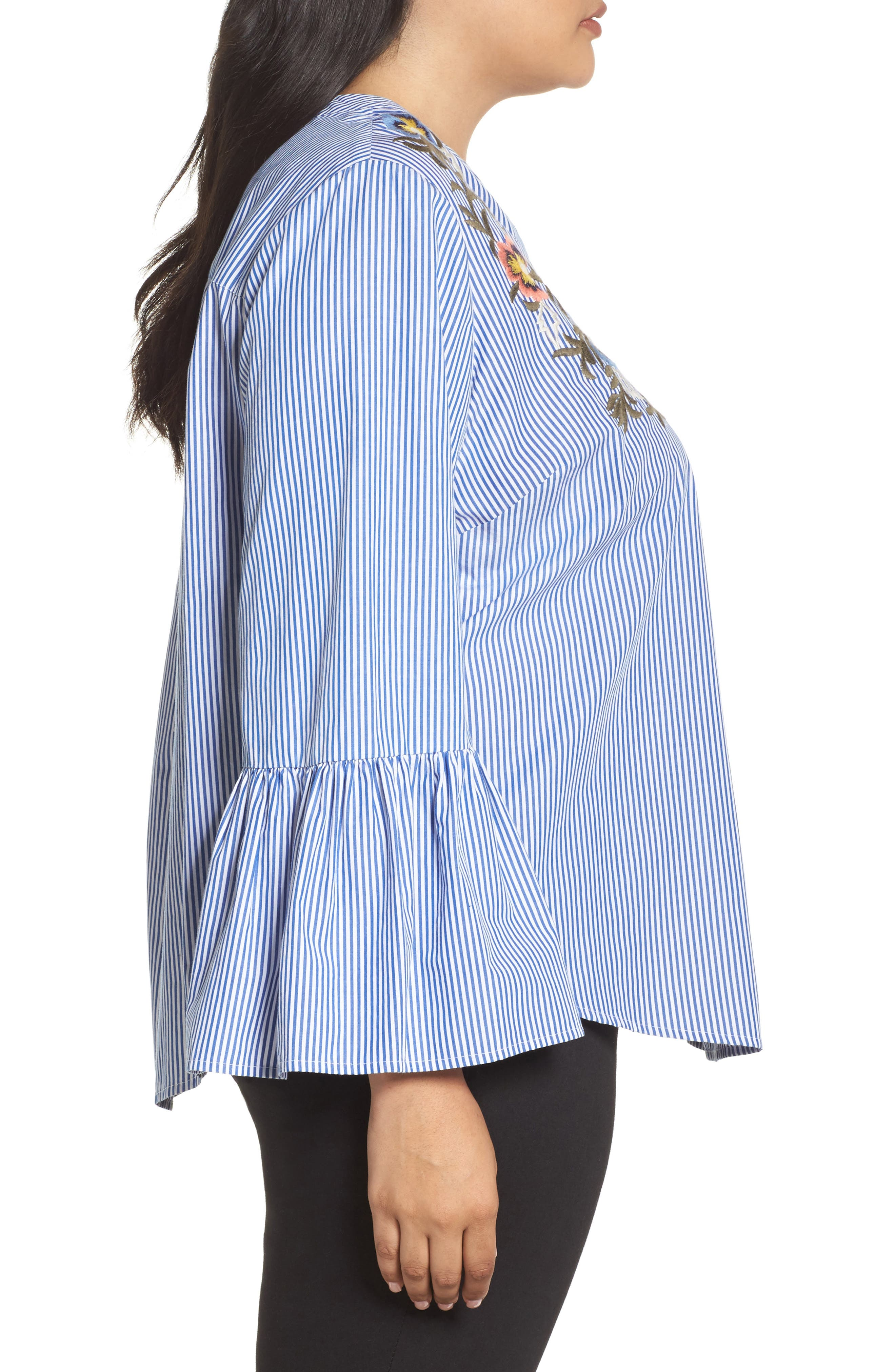 Embroidered Bell Sleeve Top,                             Alternate thumbnail 3, color,                             Blue- White Pattern