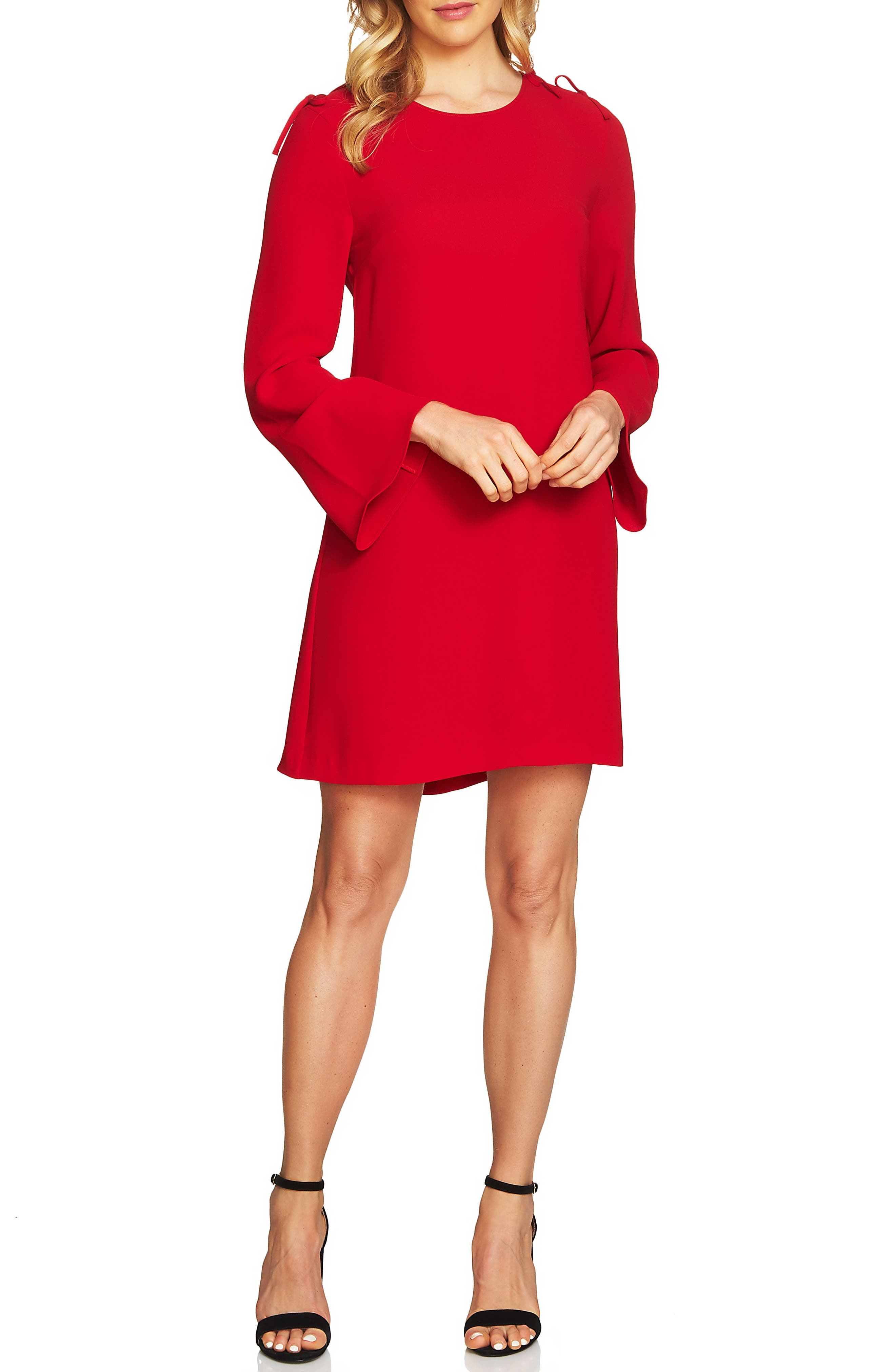 Moss Tie Shoulder Bell Sleeve Shift Dress,                             Main thumbnail 1, color,                             Ribbon Red