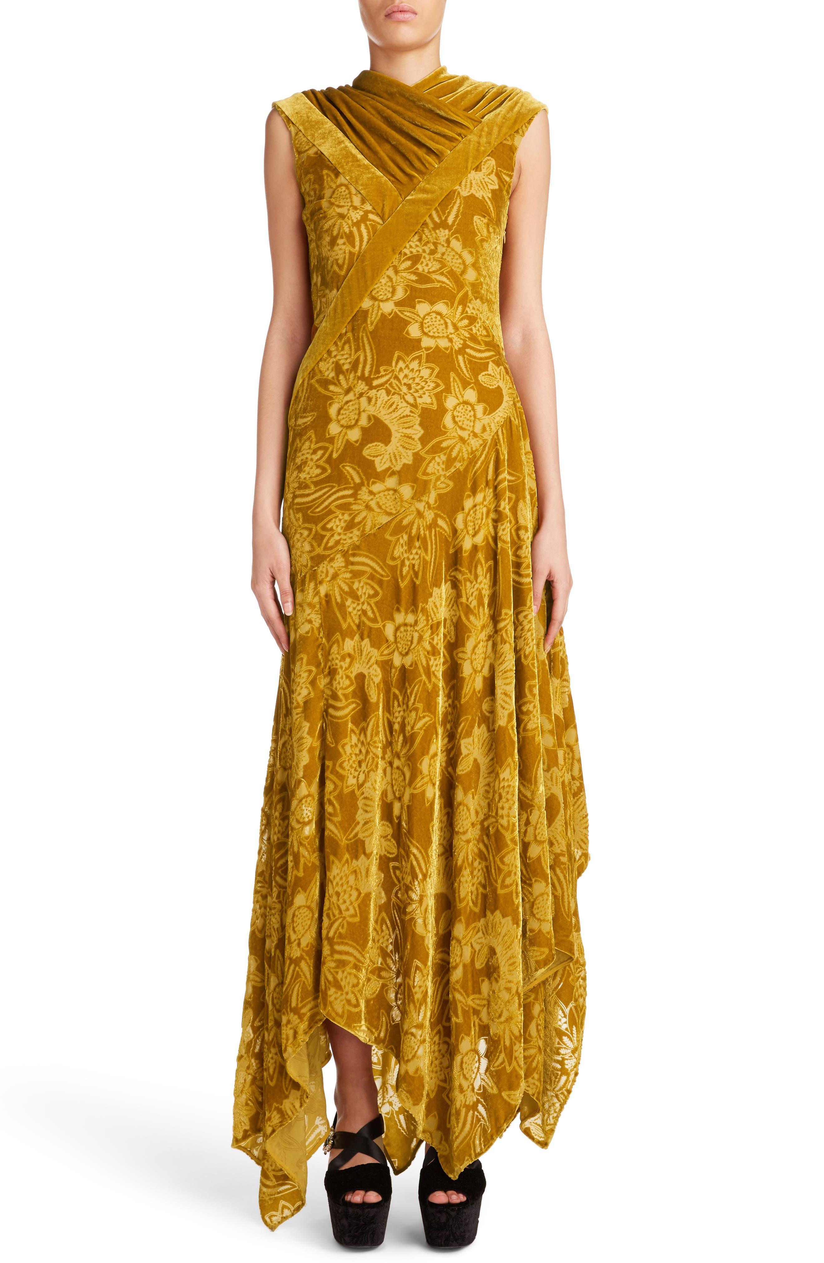 Velvet Devoré Handkerchief Hem Gown,                             Main thumbnail 1, color,                             Gold