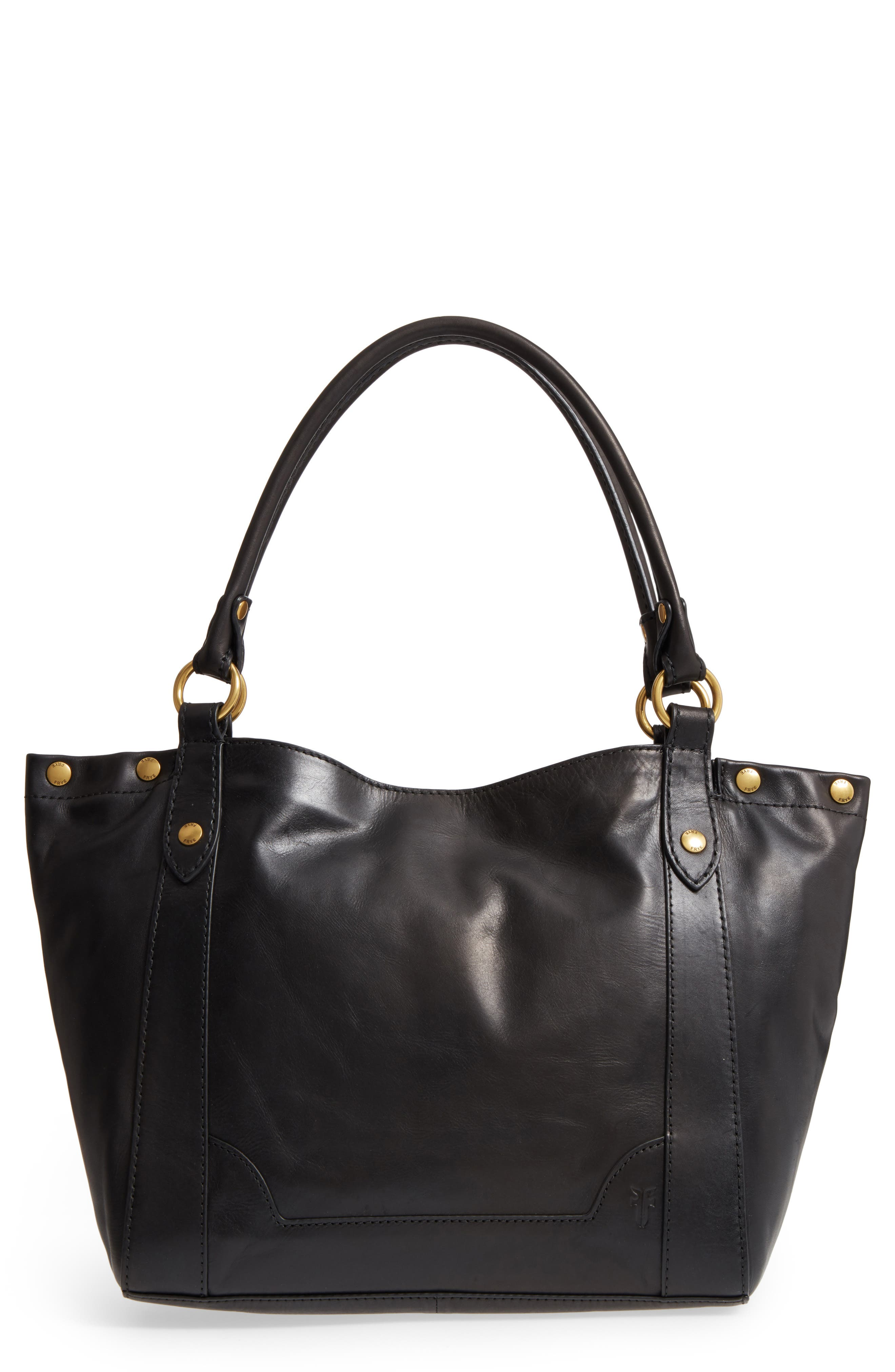 Melissa Leather Shoulder Bag,                             Main thumbnail 1, color,                             Black