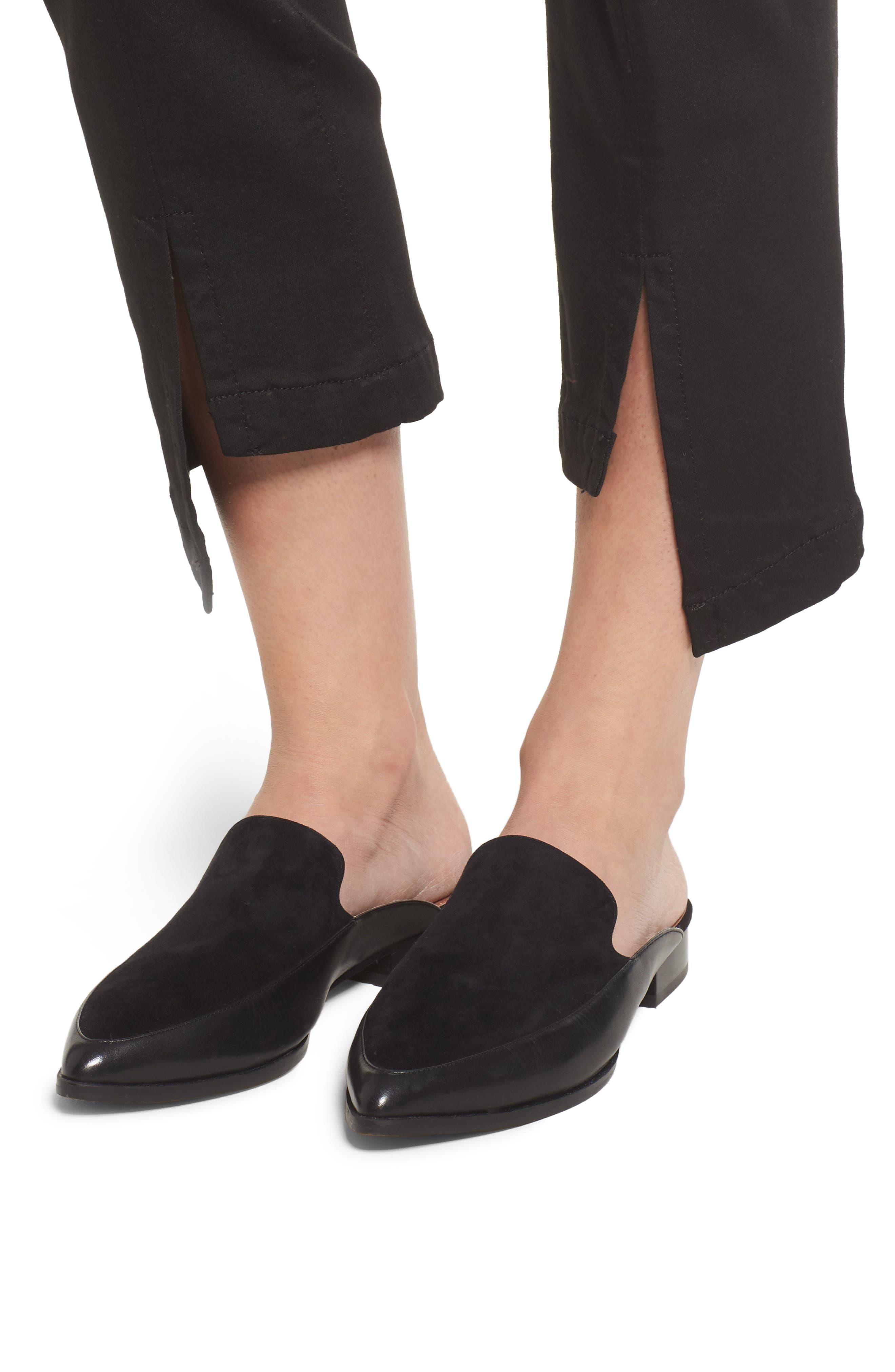 PARKER Novak Slit Hem Trouser Jeans,                             Alternate thumbnail 4, color,                             Eternal Black