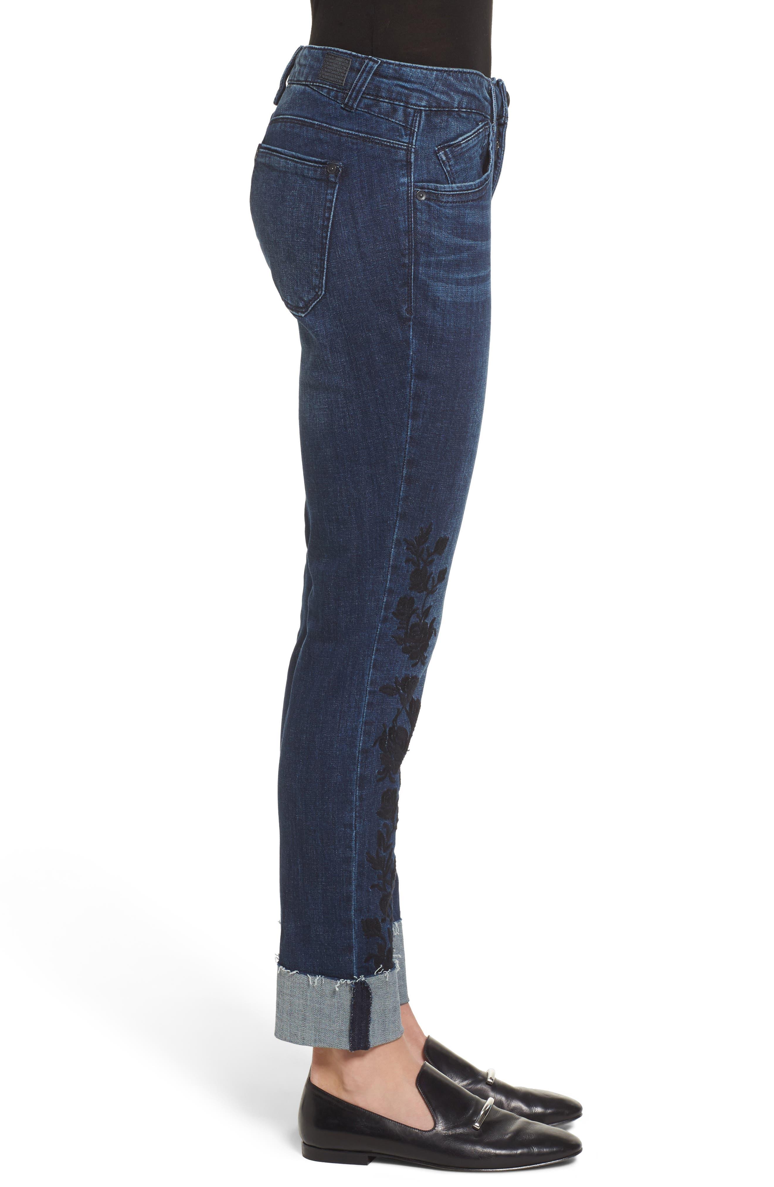 Flexellent Embroidered Boyfriend Jeans,                             Alternate thumbnail 3, color,                             Blue
