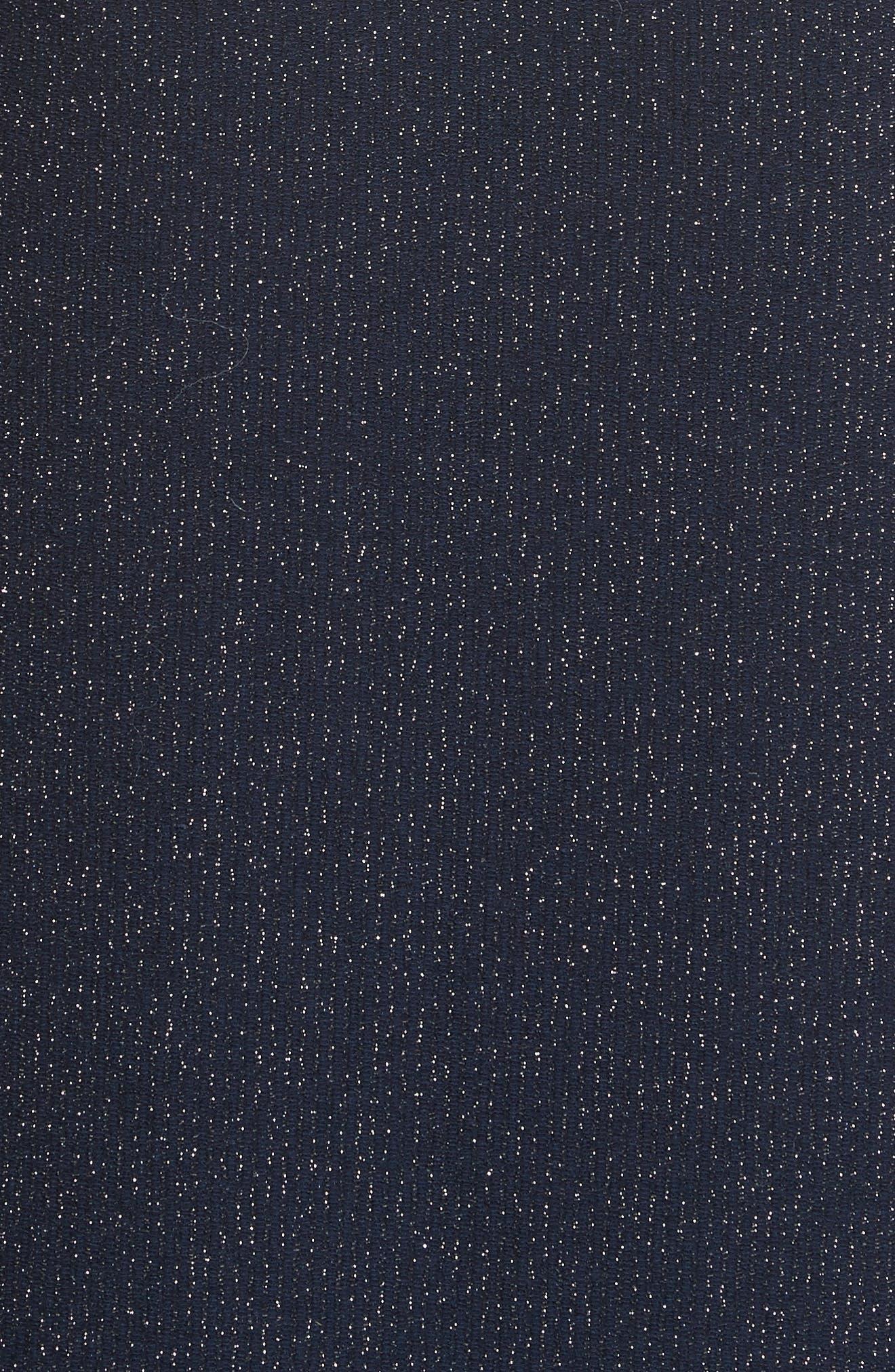 Temper Metallic Knit Dress,                             Alternate thumbnail 5, color,                             Navy