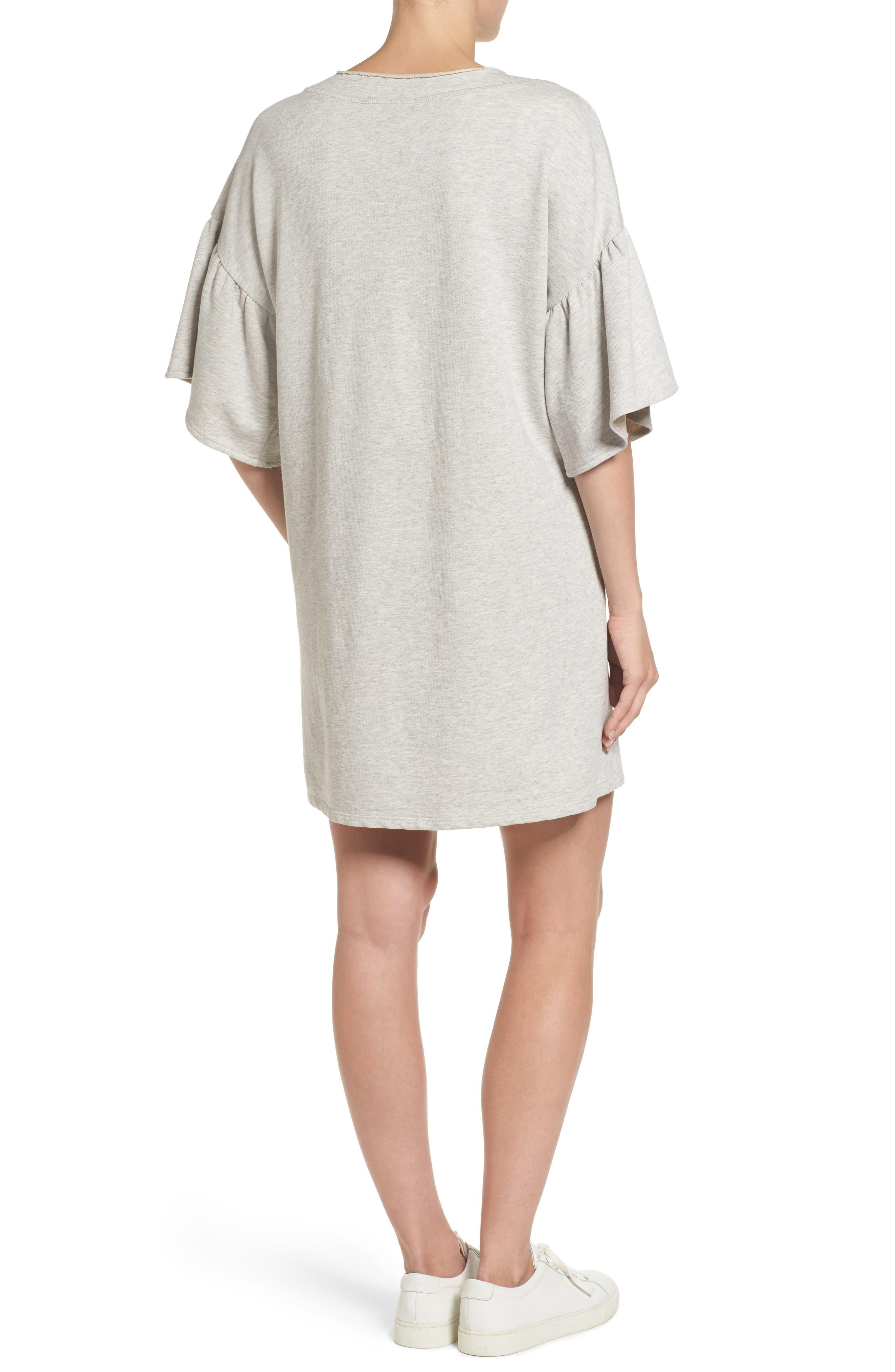 Mariska Fleece Knit Dress,                             Alternate thumbnail 3, color,                             Heather Sterling