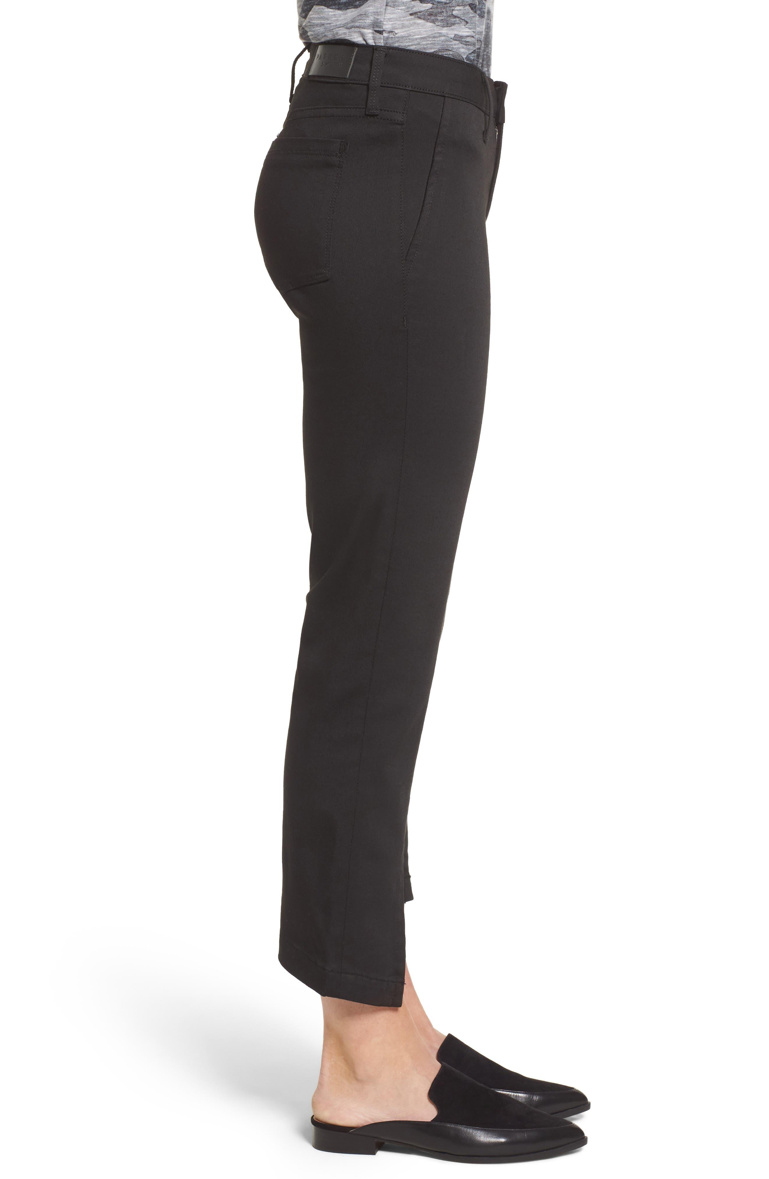 PARKER Novak Slit Hem Trouser Jeans,                             Alternate thumbnail 3, color,                             Eternal Black