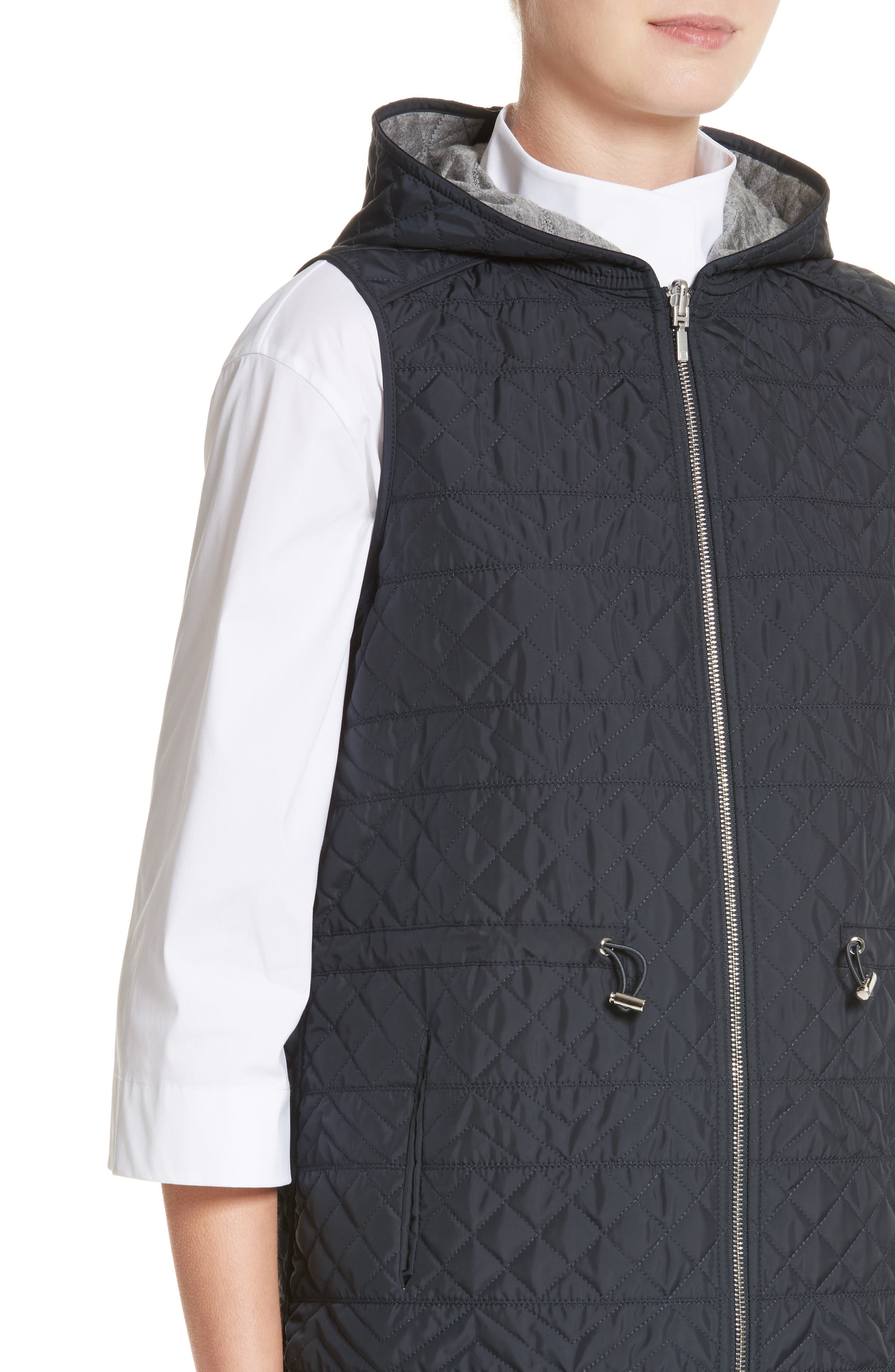 Ginny Reversible Hooded Vest,                             Alternate thumbnail 6, color,                             Ink/ Nickel Melange