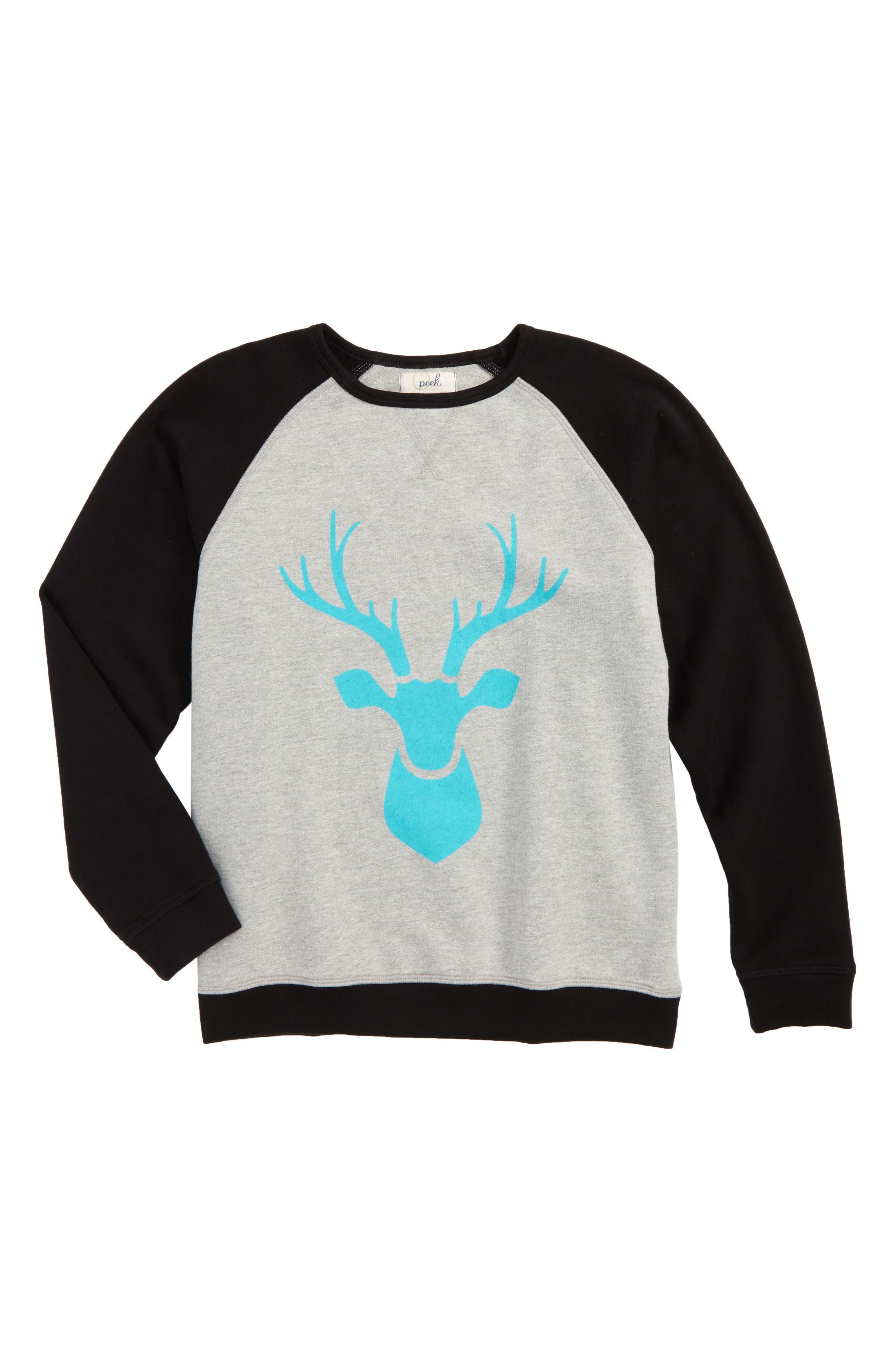 Alternate Image 1 Selected - Peek Reindeer Graphic Raglan Sweatshirt (Toddler Boys, Little Boys & Big Boys)