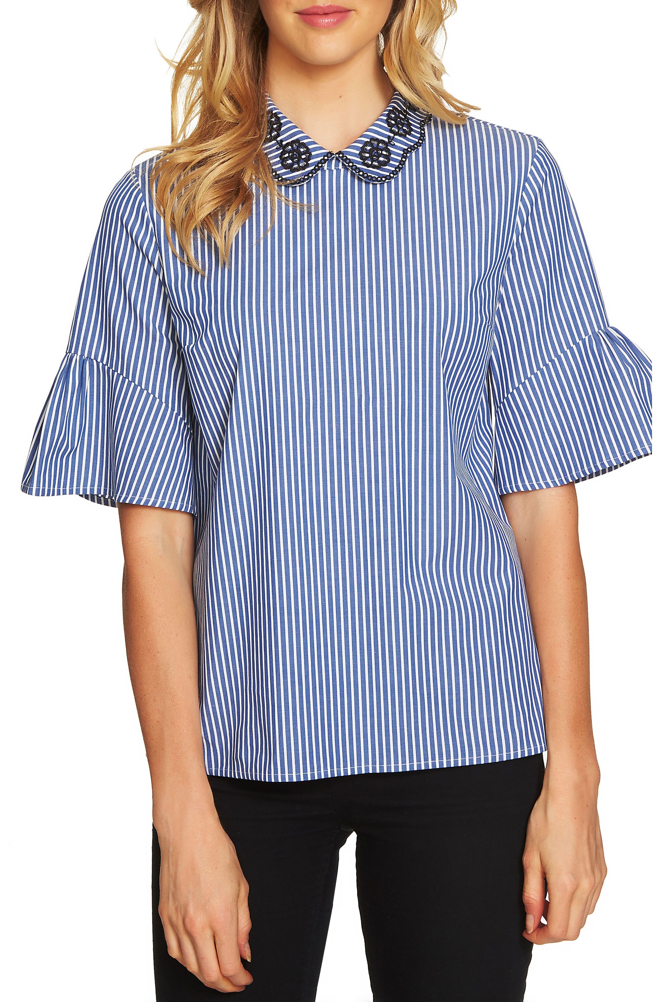 Ruffle Sleeve Stripe Top,                         Main,                         color, Deep Sapphire