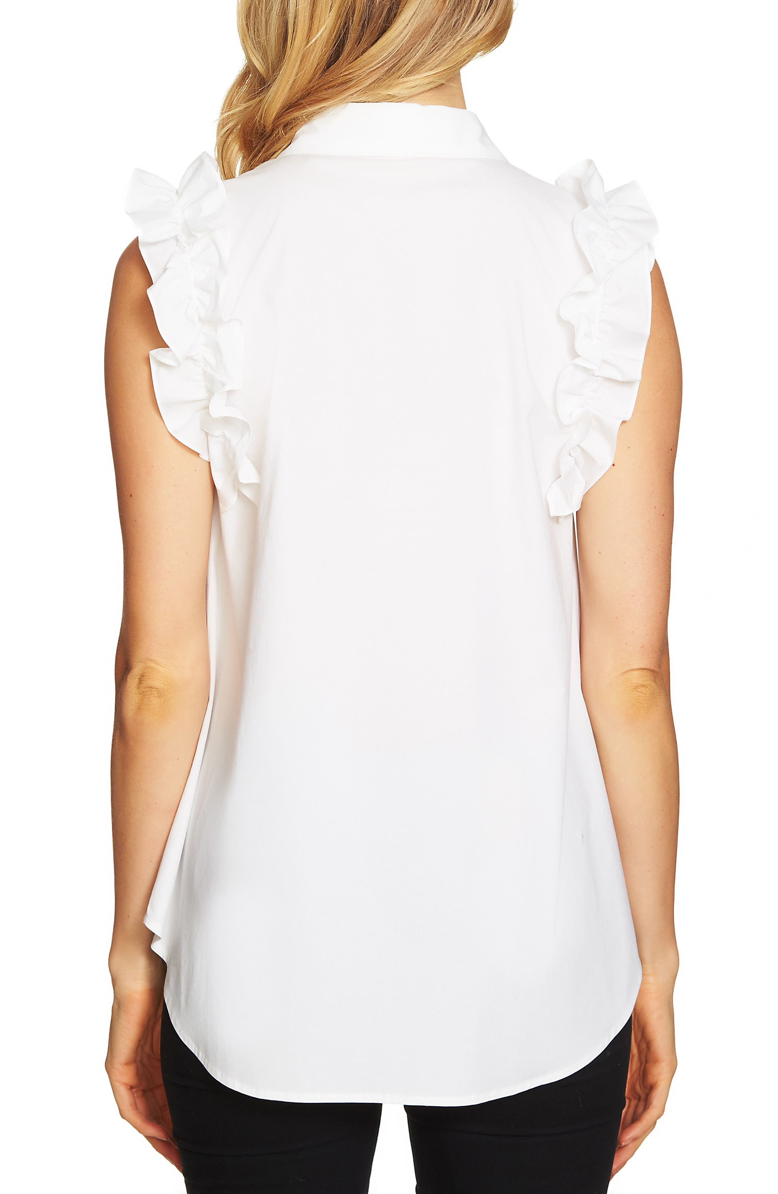 Ruffle Stretch Cotton Blouse,                             Alternate thumbnail 2, color,                             Ultra White