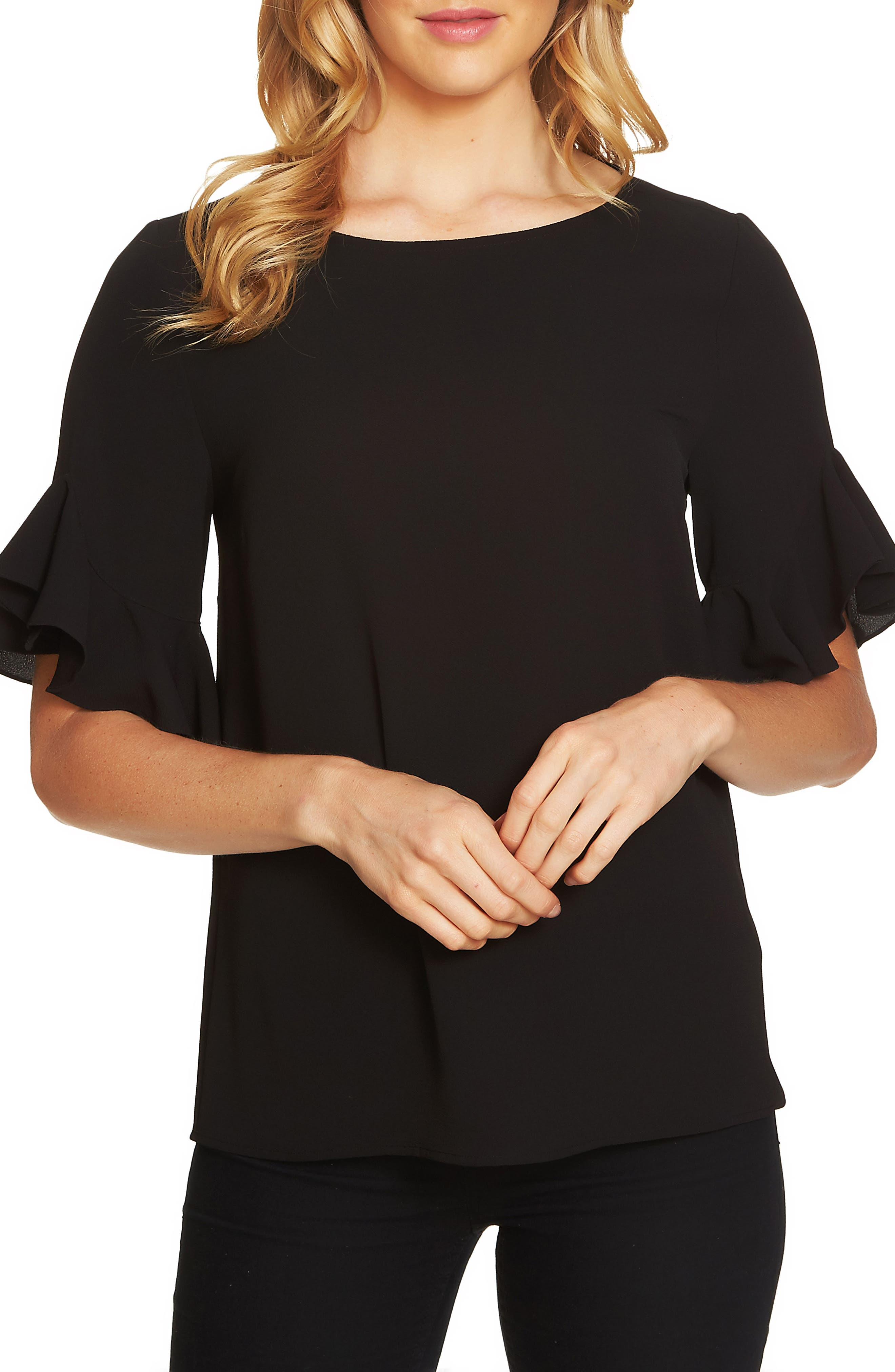 Ruffle Sleeve Blouse,                         Main,                         color, Rich Black