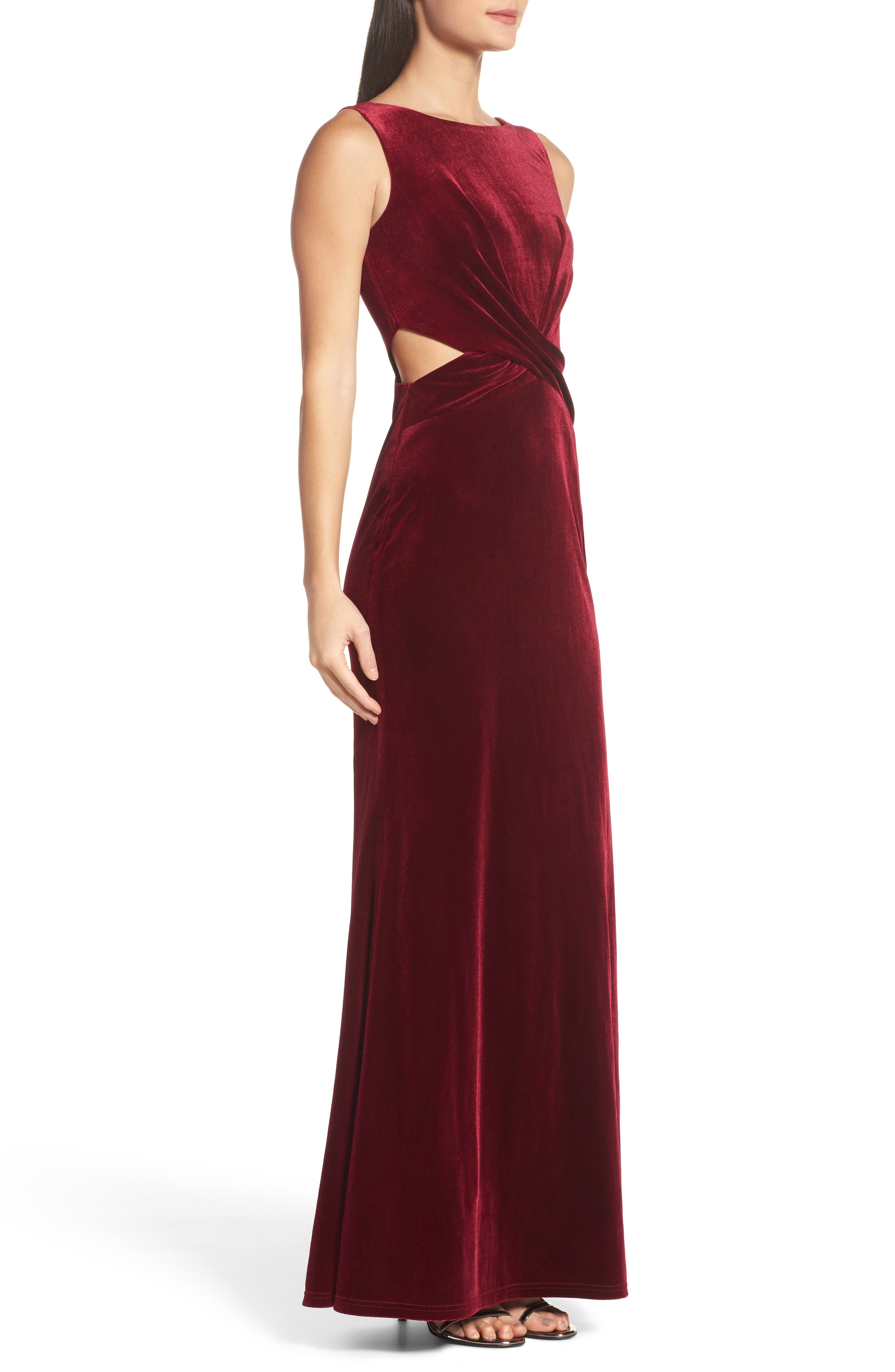Reach Out Velvet Maxi Dress,                             Alternate thumbnail 3, color,                             Burgundy