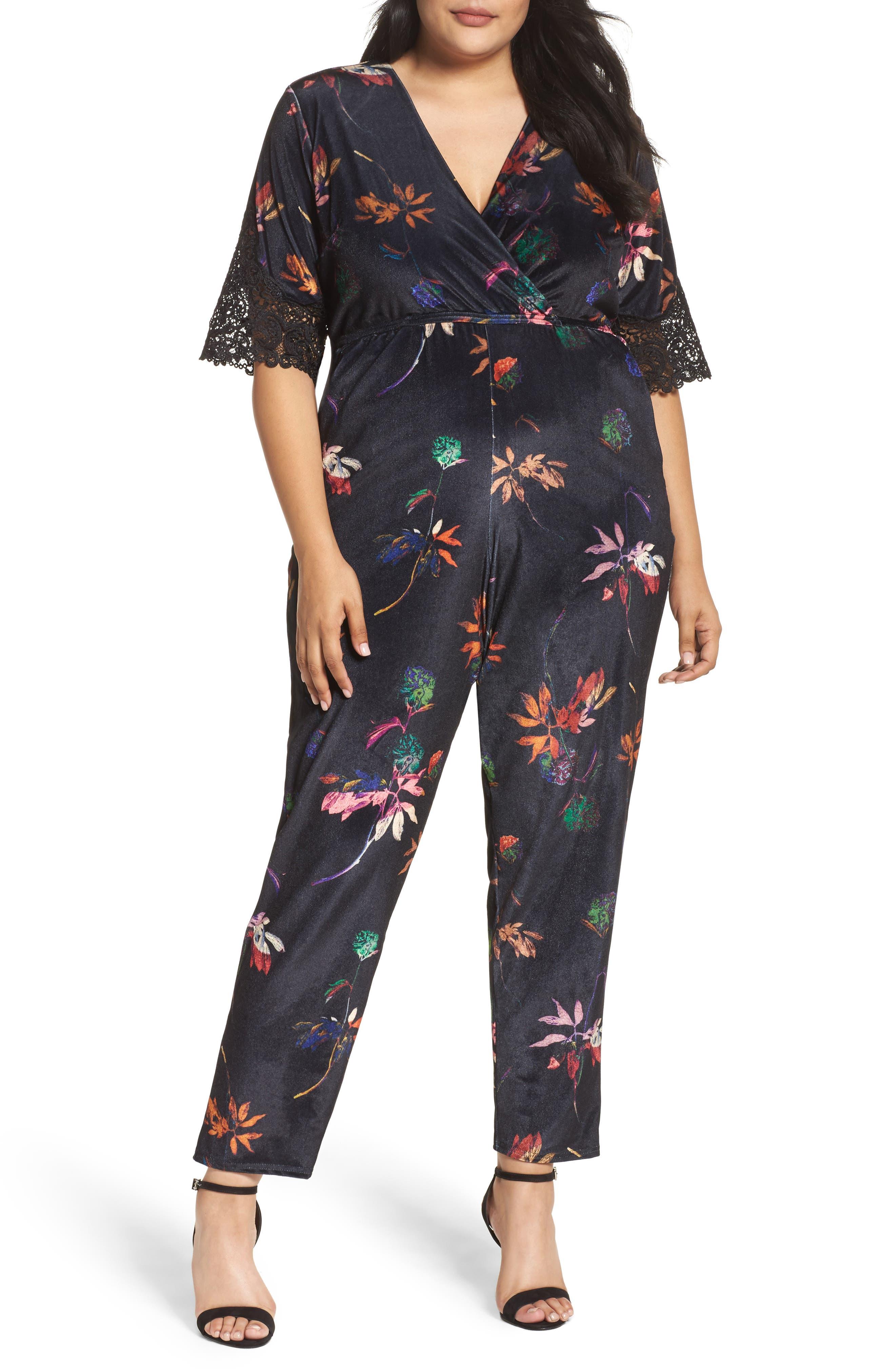 Main Image - LOST INK Velvet Floral Jumpsuit (Plus Size)