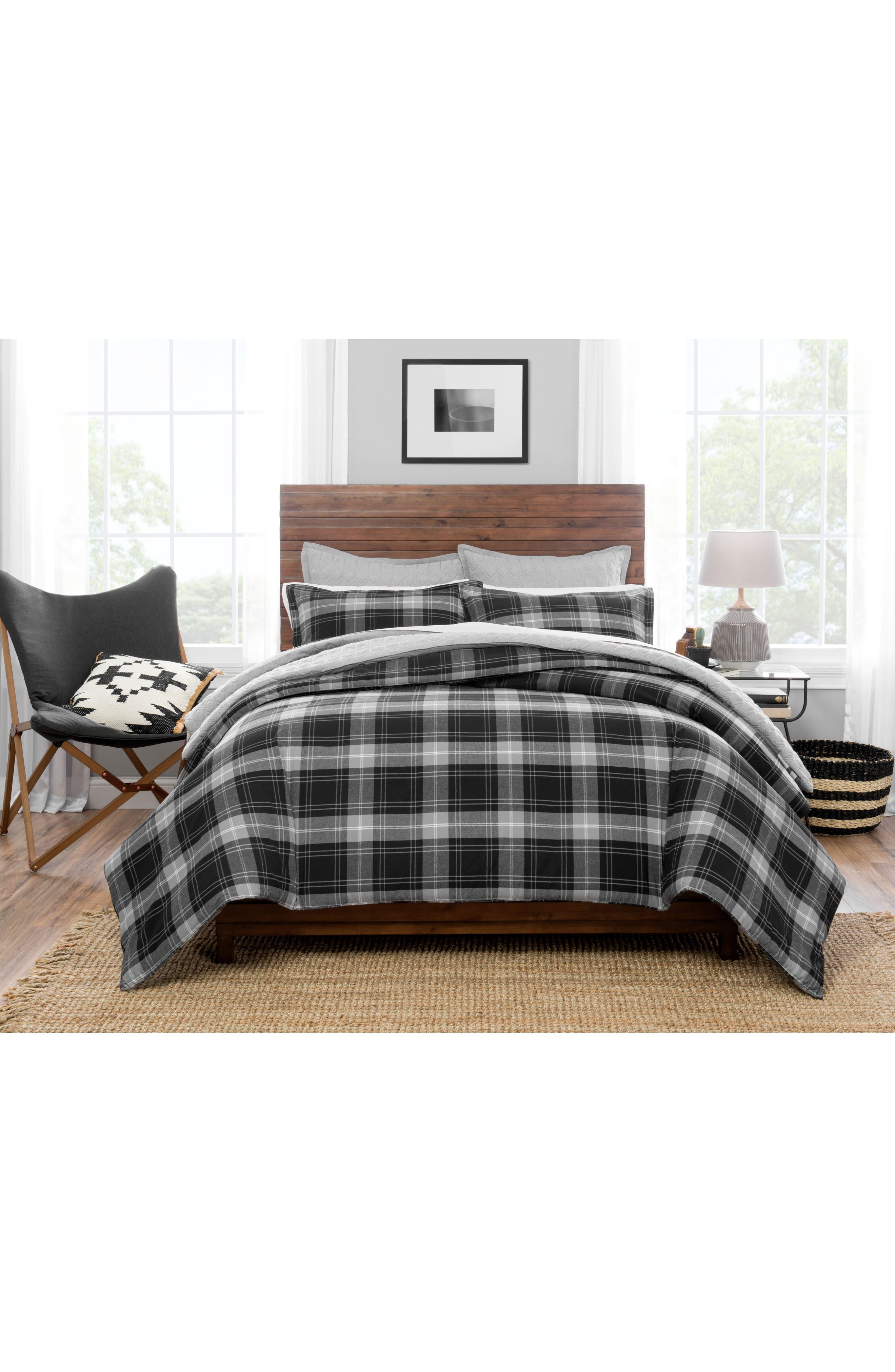 Plaid Comforter & Sham Set,                         Main,                         color, Multi