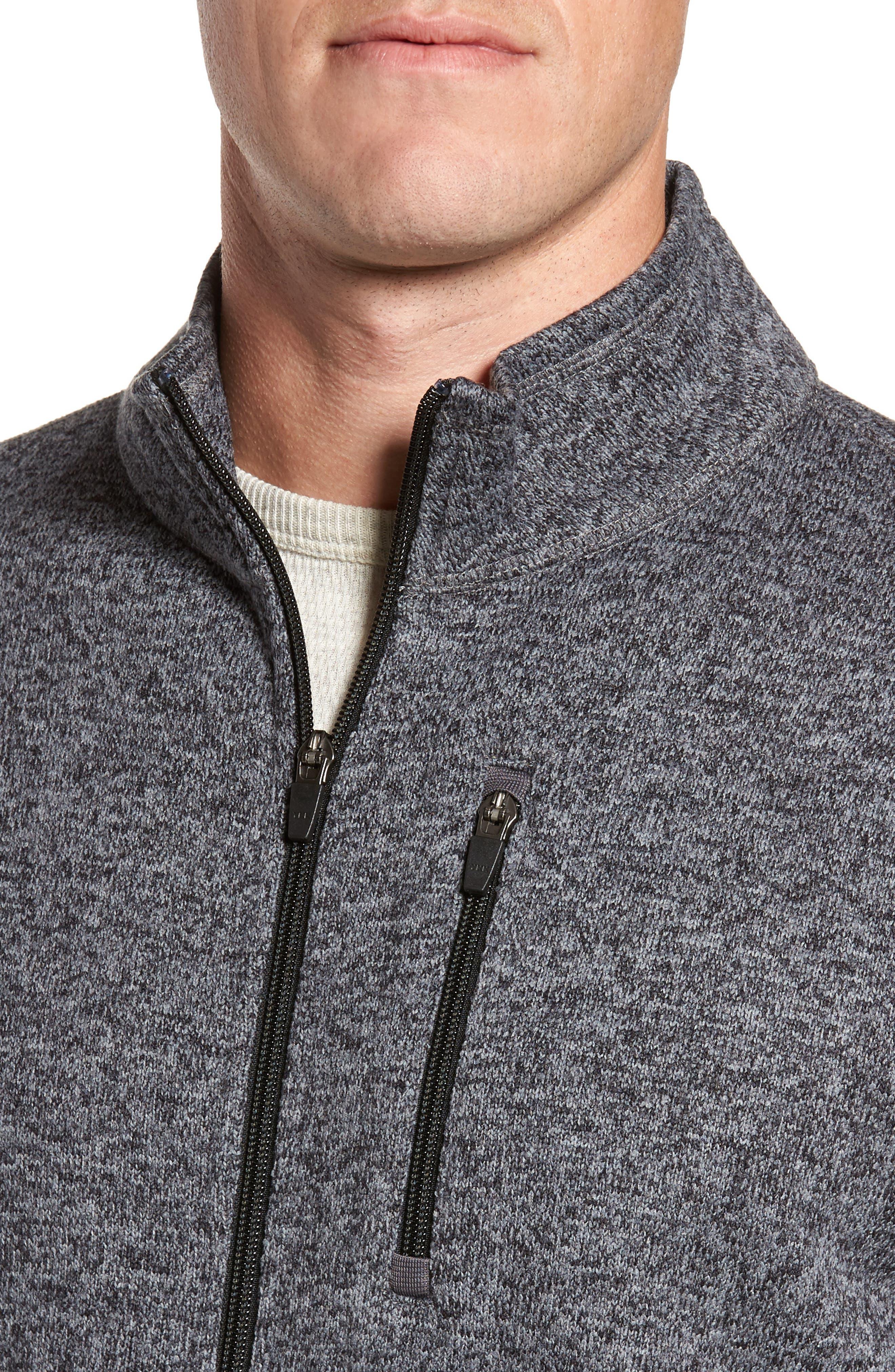 Sweater Knit Fleece Zip Front Jacket,                             Alternate thumbnail 4, color,                             Black/ Grey