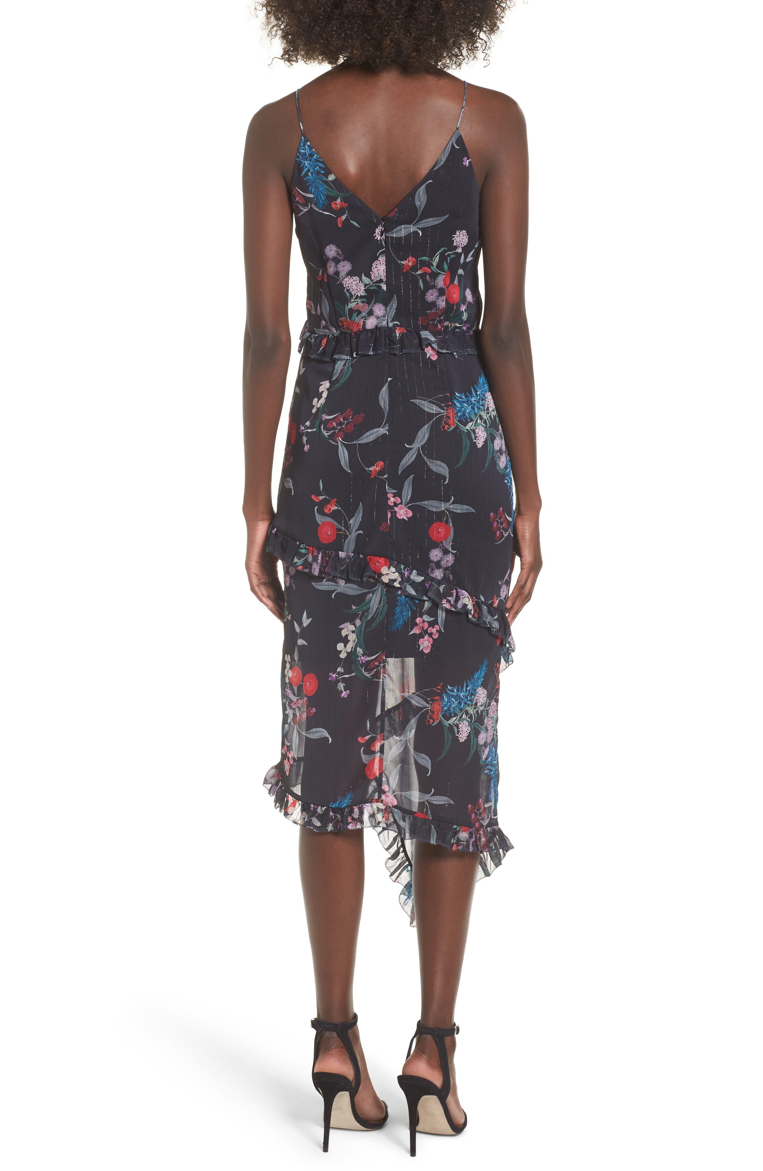 Ruffle Chiffon Midi Dress,                             Alternate thumbnail 3, color,                             Black Botanic Floral
