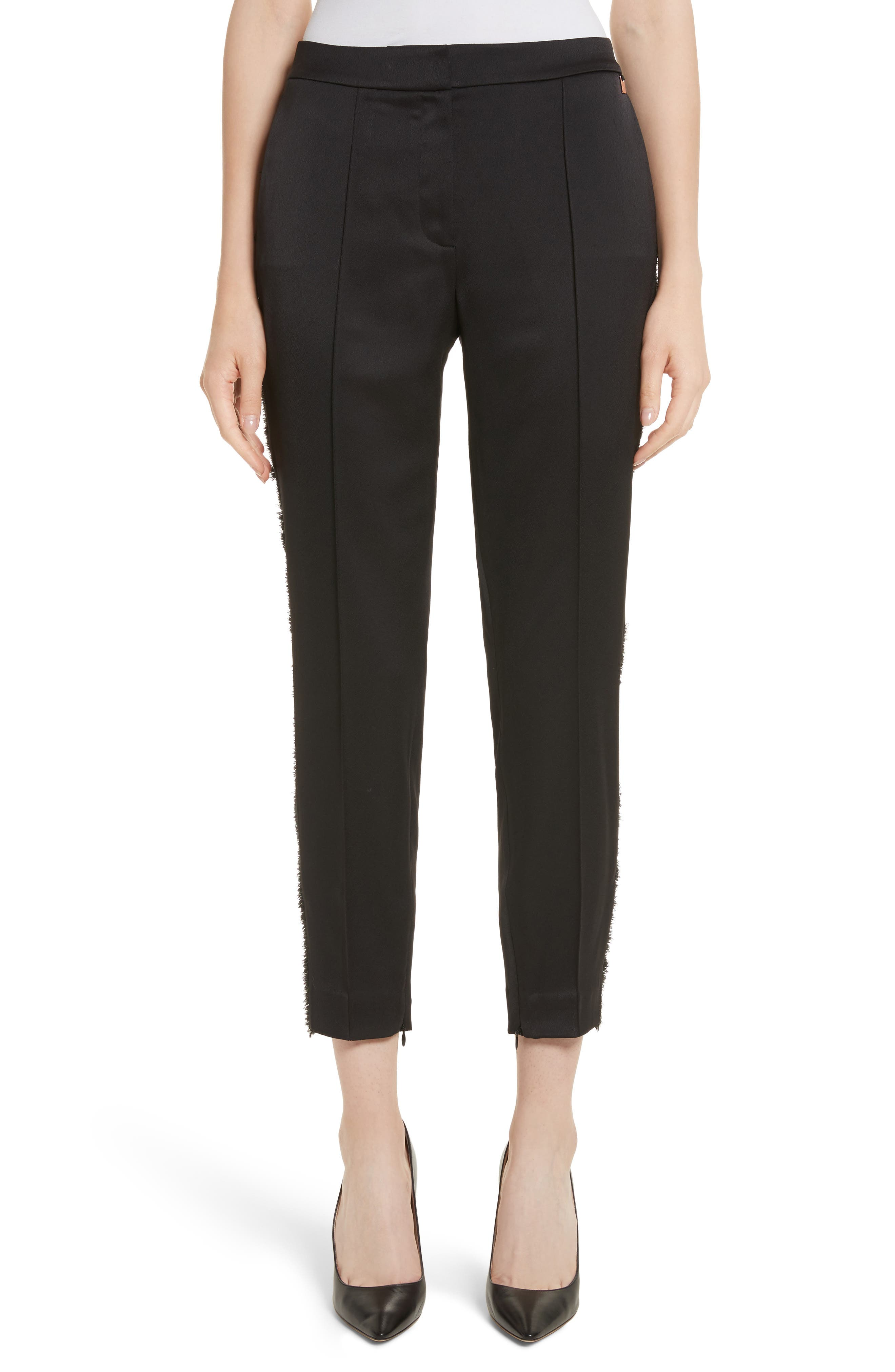 Fringe Side Seam Trousers,                         Main,                         color, Black