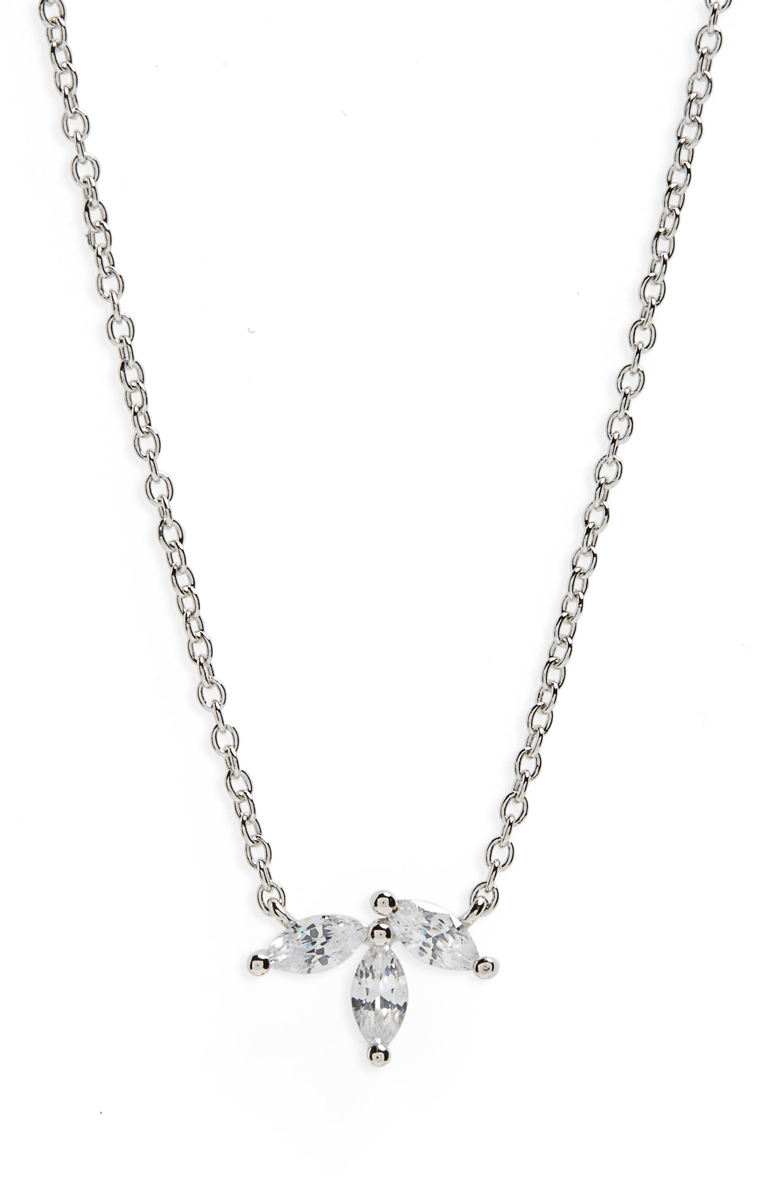 Marquise Cubic Zirconia Pendant Necklace,                         Main,                         color, Platinum