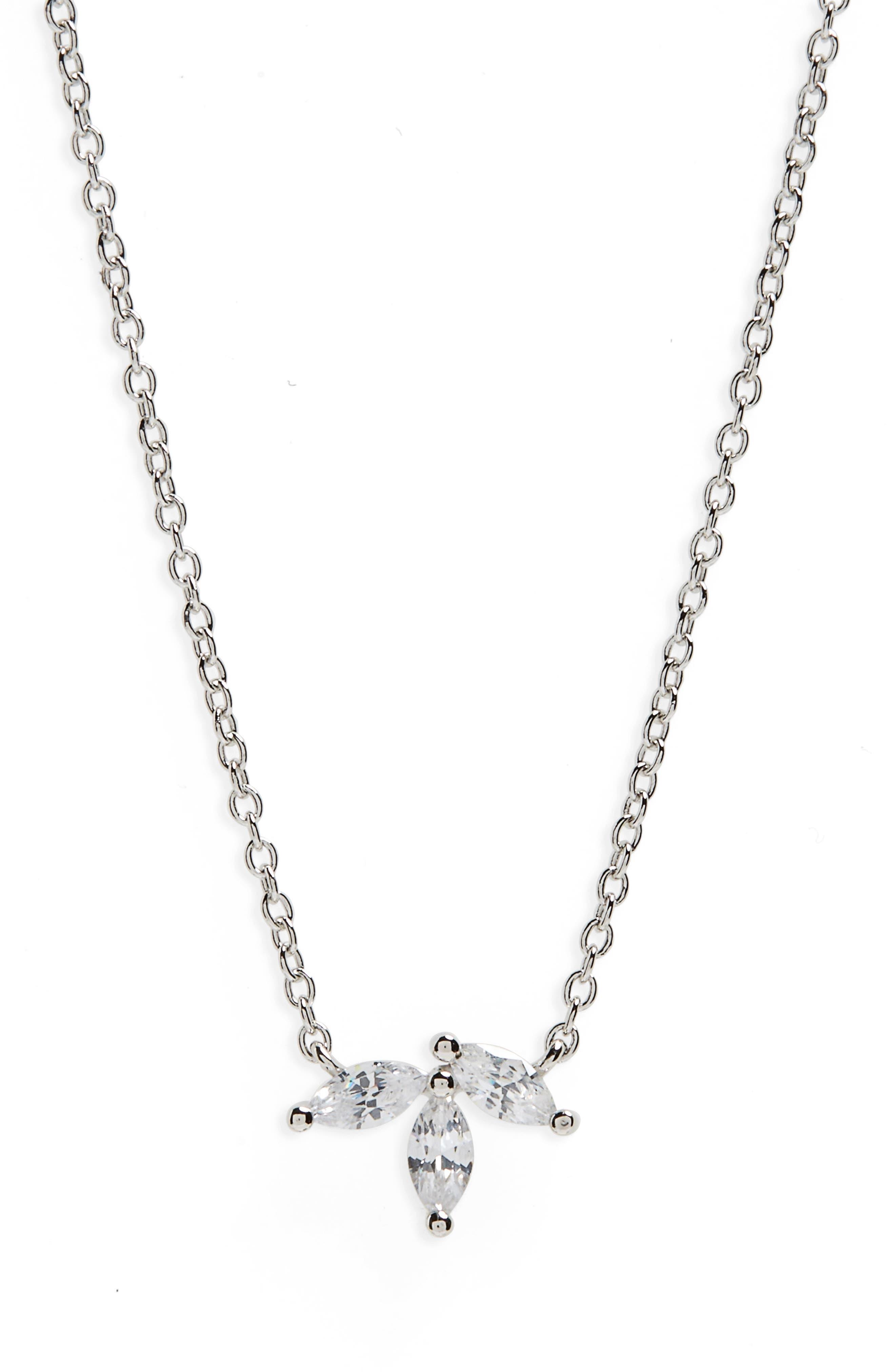 Marquise Cubic Zirconia Pendant Necklace,                         Main,                         color, Platinum