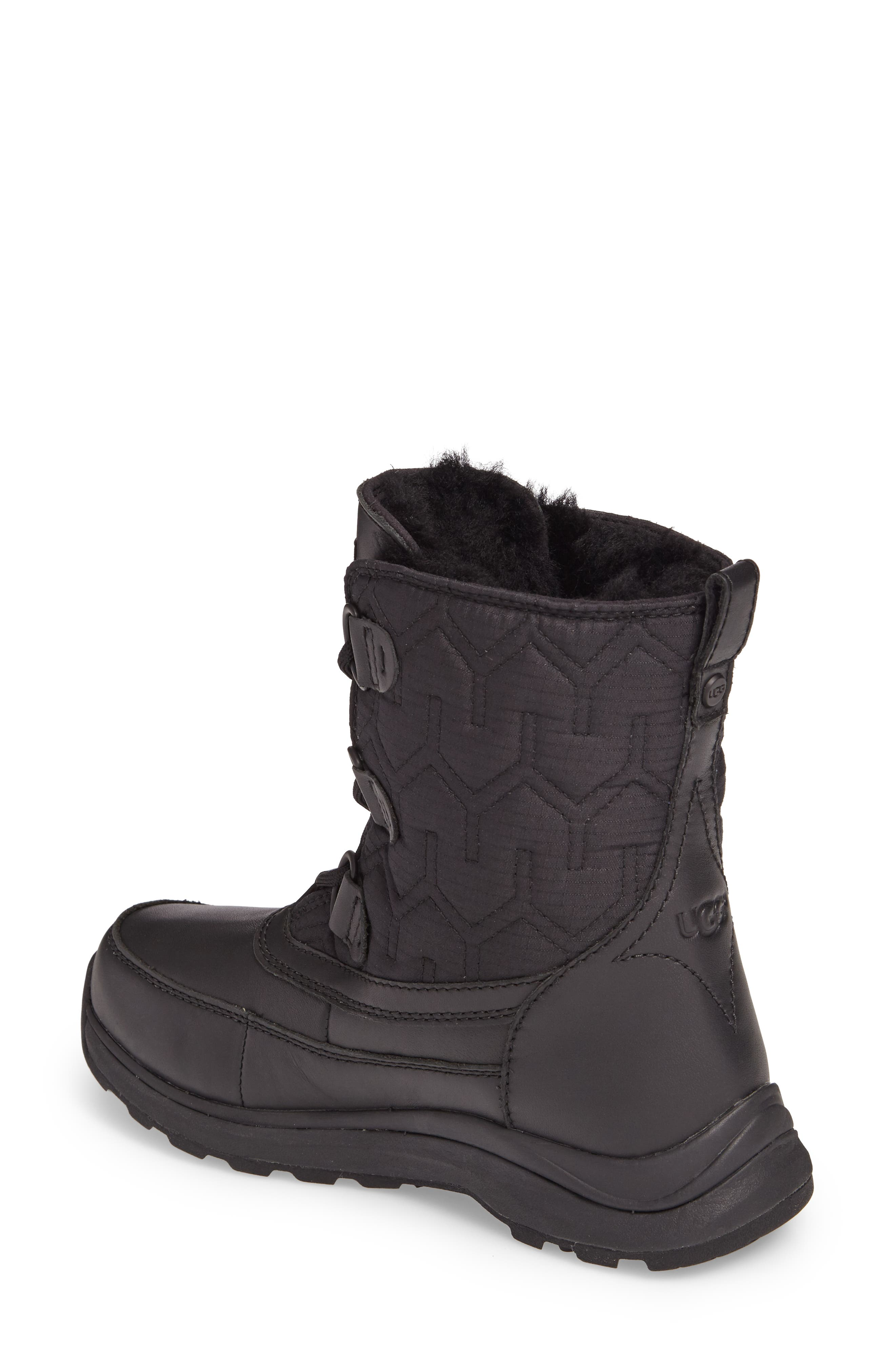Lachlan Waterproof Insulated Snow Boot,                             Alternate thumbnail 2, color,                             Black Leather