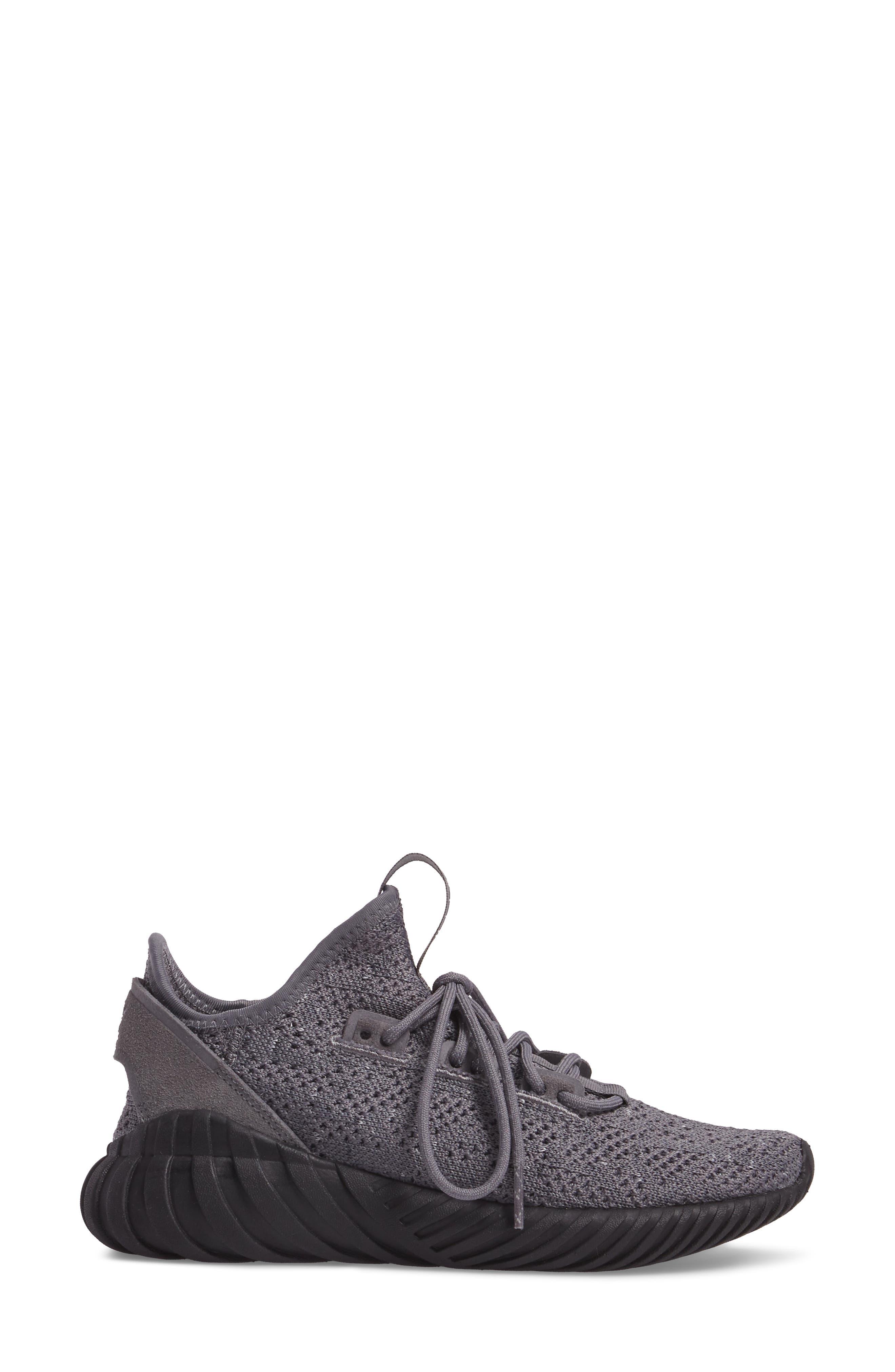 Tubular Doom Sock Primeknit Sneaker,                             Alternate thumbnail 3, color,                             Grey / Core Black/ White