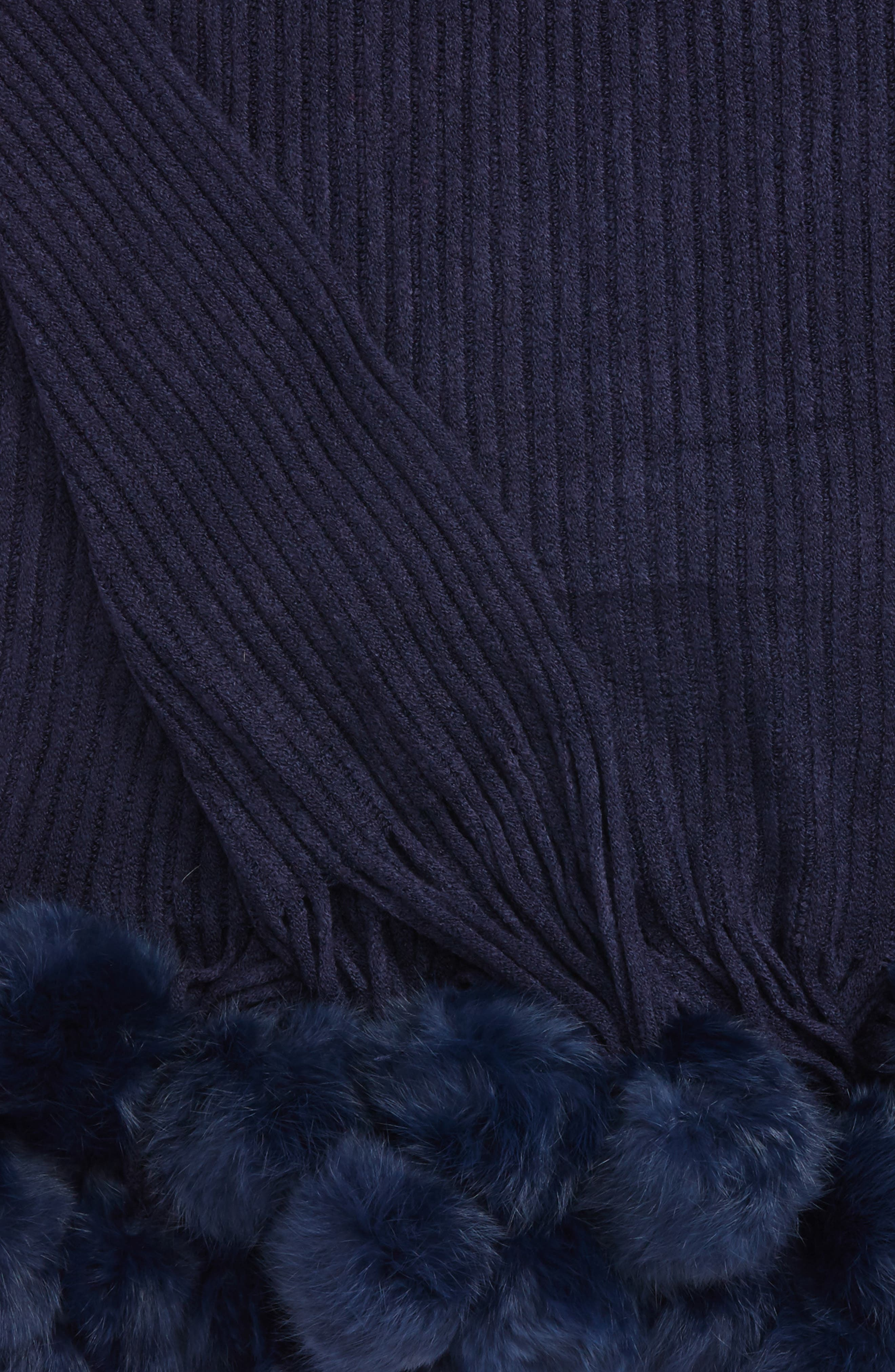 Alternate Image 2  - Echo Genuine Rabbit Fur Pompom Rib Knit Throw