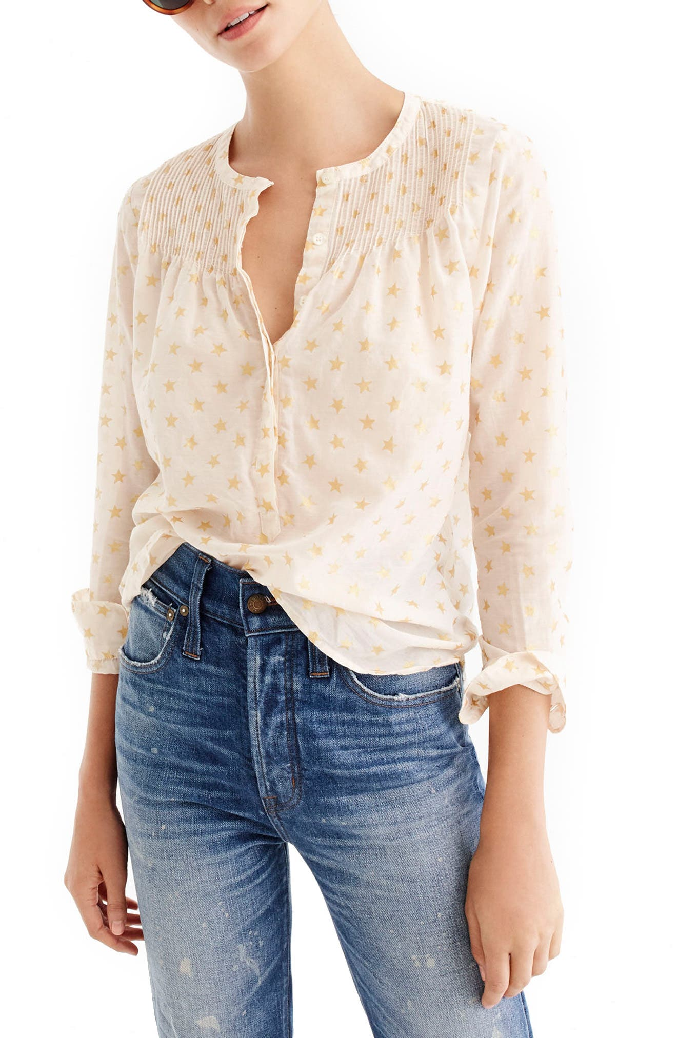 J.Crew Metallic Star Print Popover Top (Regular & Petite)