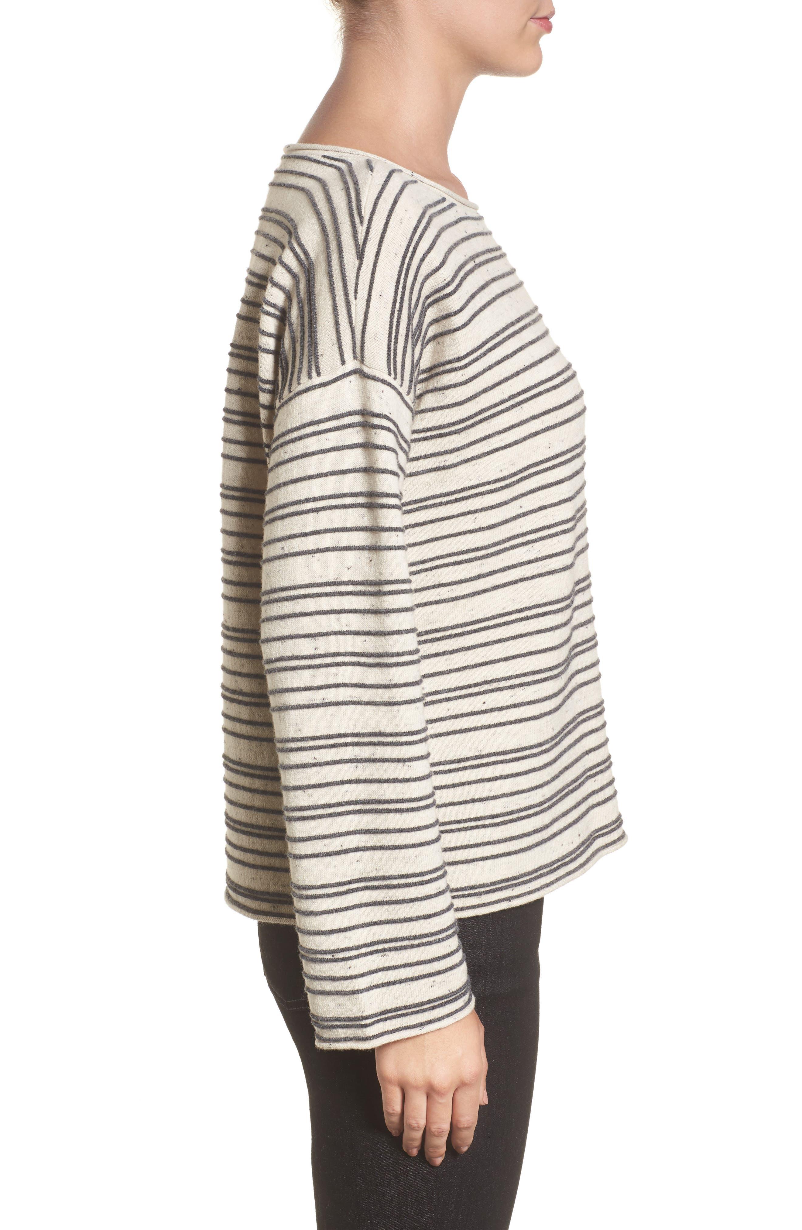 Stripe Organic Cotton Blend Sweater,                             Alternate thumbnail 3, color,                             Maple Oat