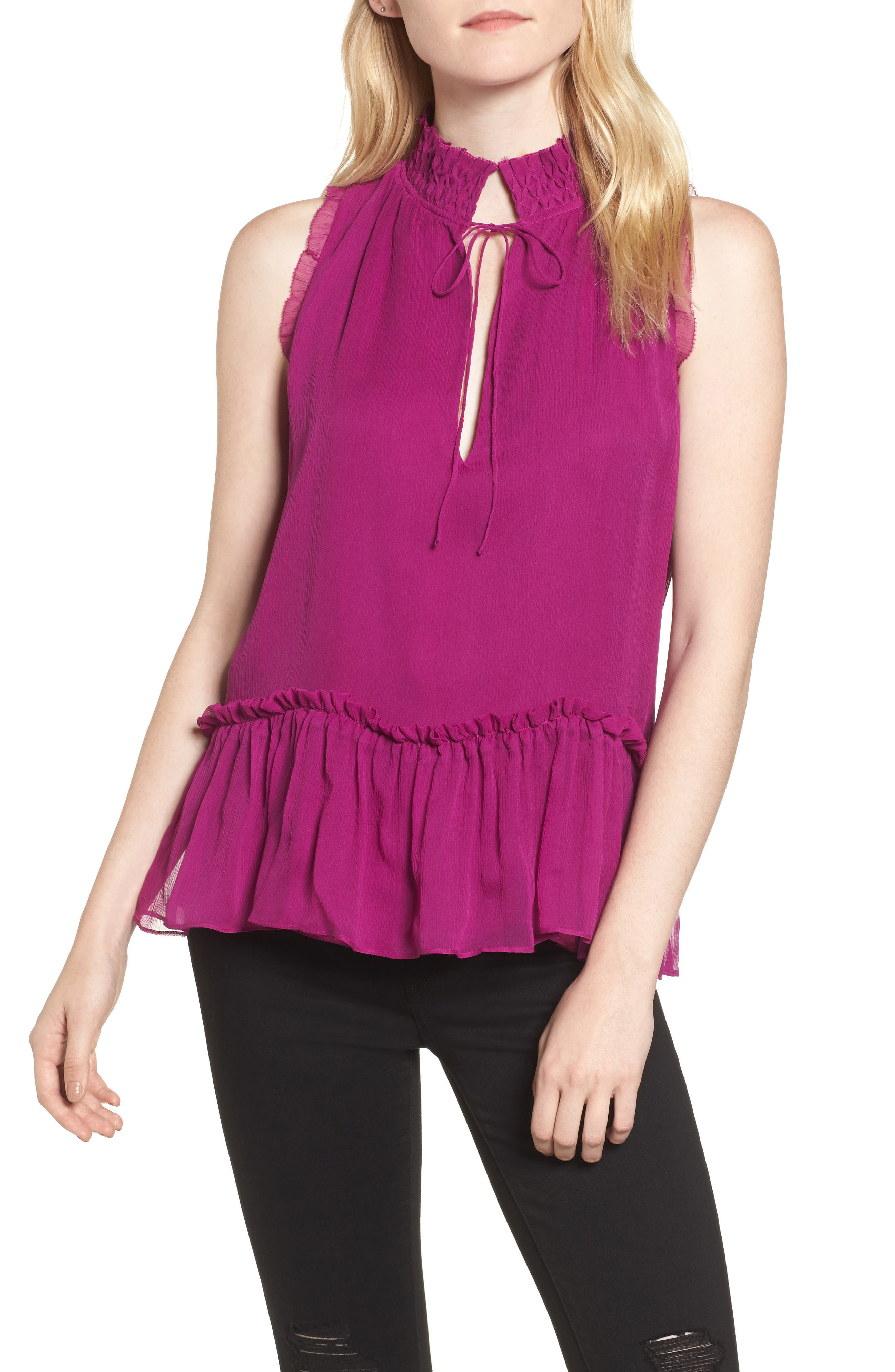 Ray Silk Blouse,                         Main,                         color, Dragonfruit